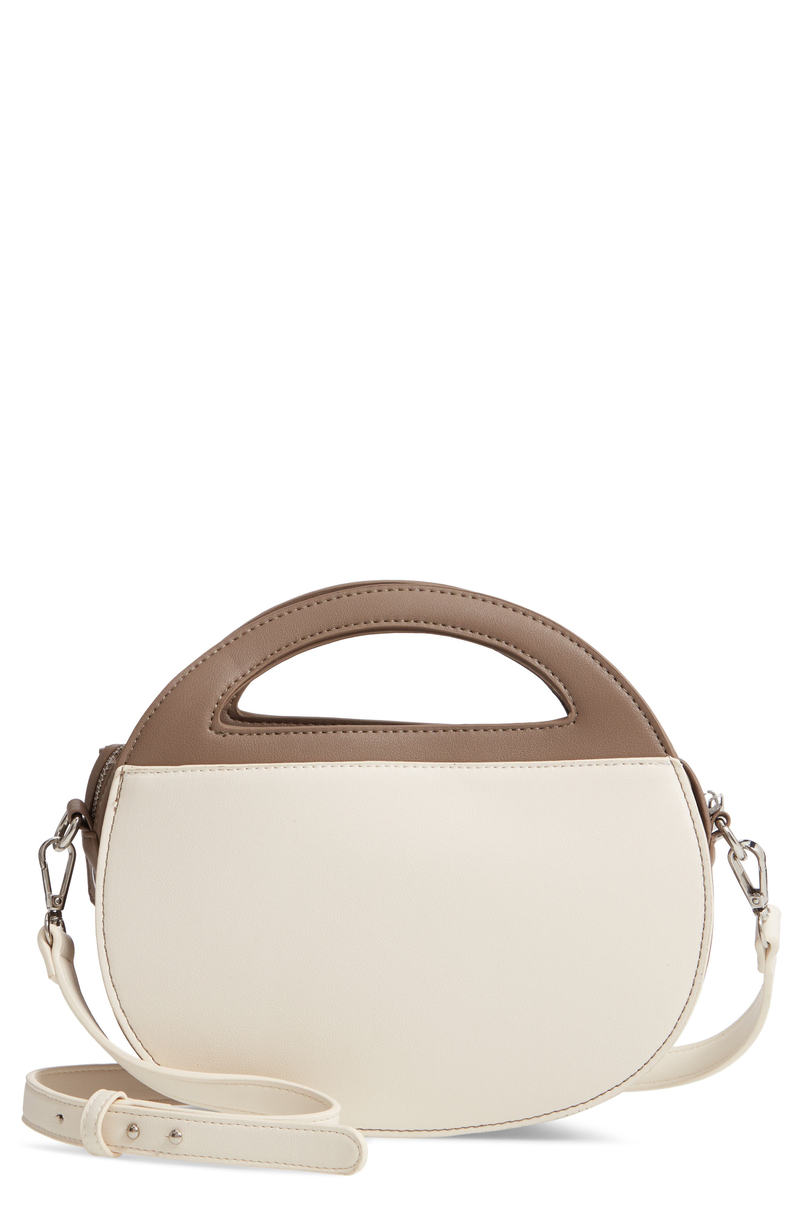 Two-Tone Faux Leather Oval Crossbody Bag,                             Main thumbnail 1, color,                             TAUPE/ COGNAC