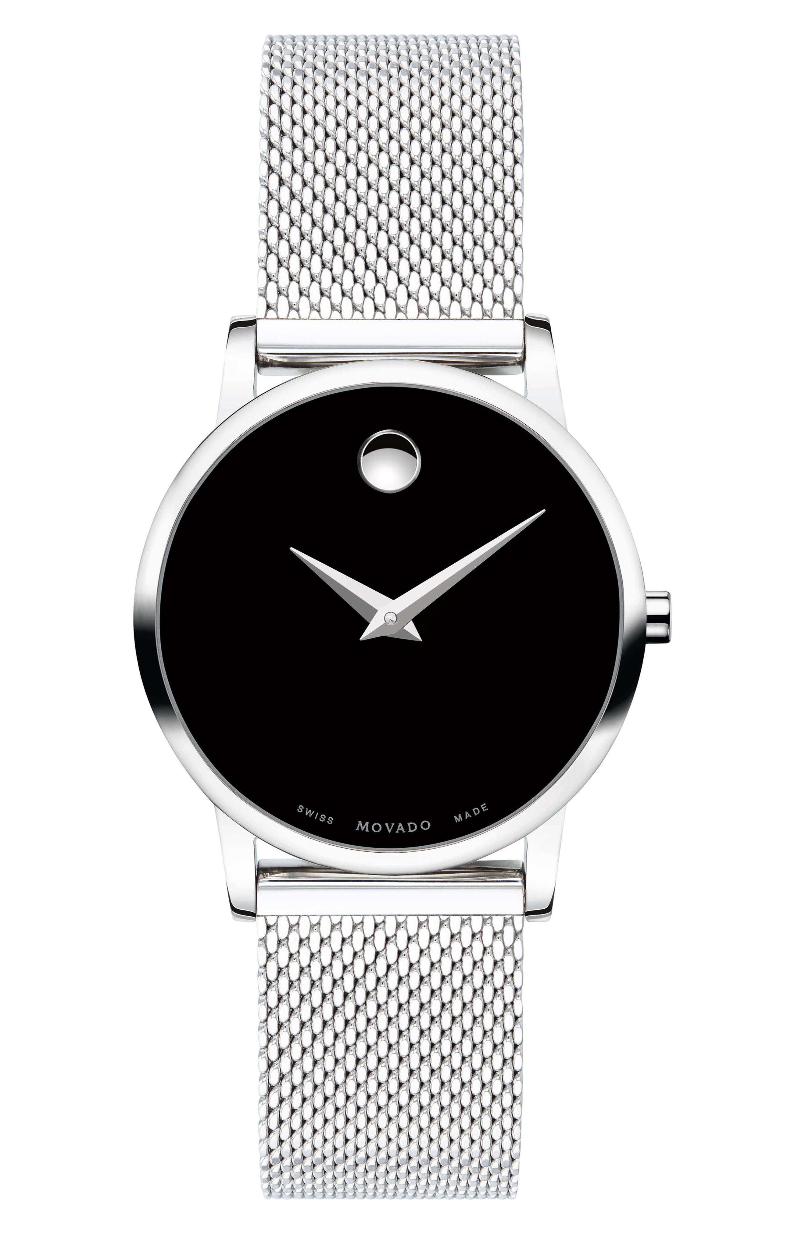 Museum Mesh Strap Watch, 28mm,                             Main thumbnail 1, color,                             SILVER/ BLACK/ SILVER