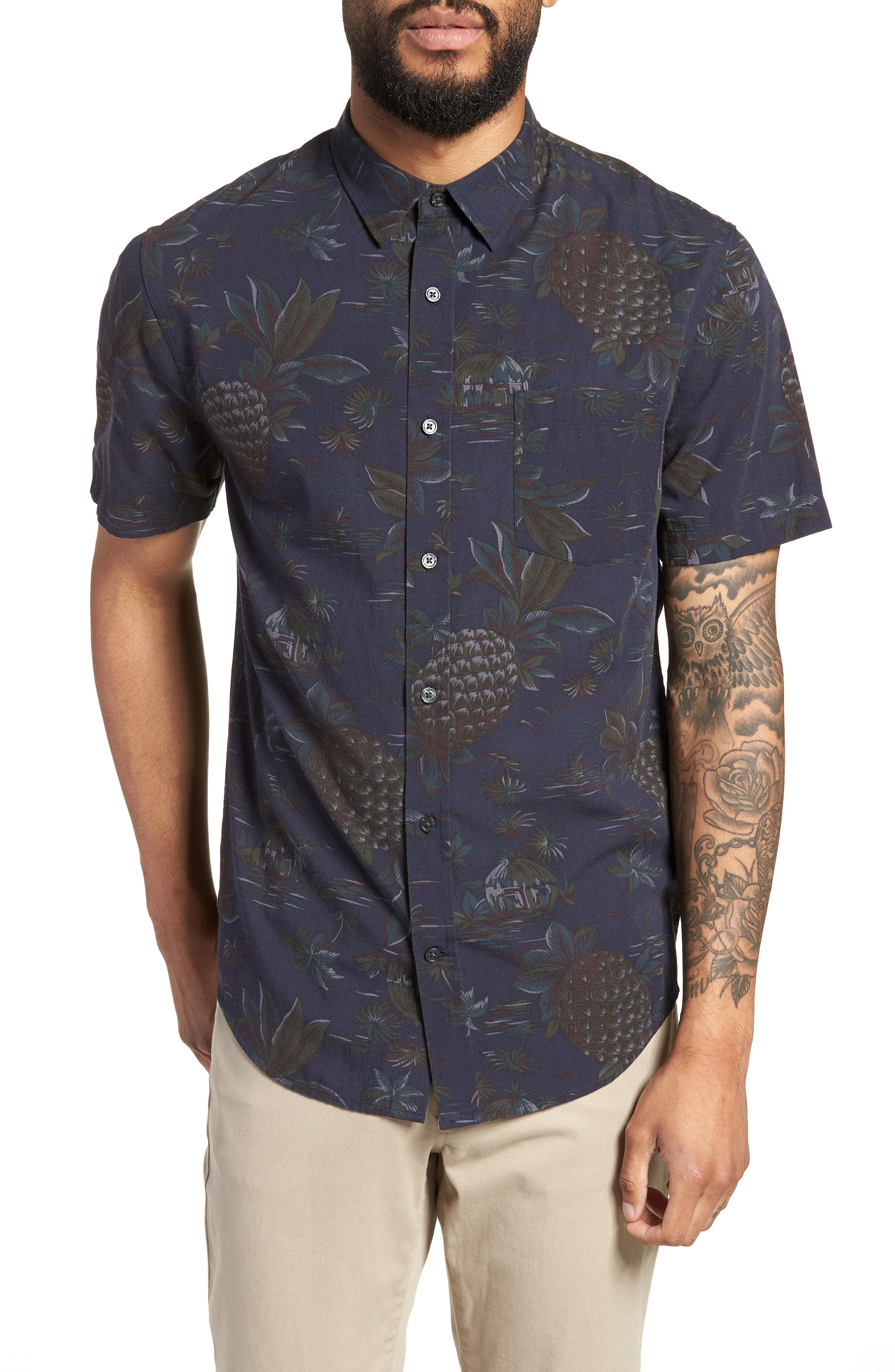 Classic Fit Tropical Short Sleeve Sport Shirt,                             Main thumbnail 1, color,                             463