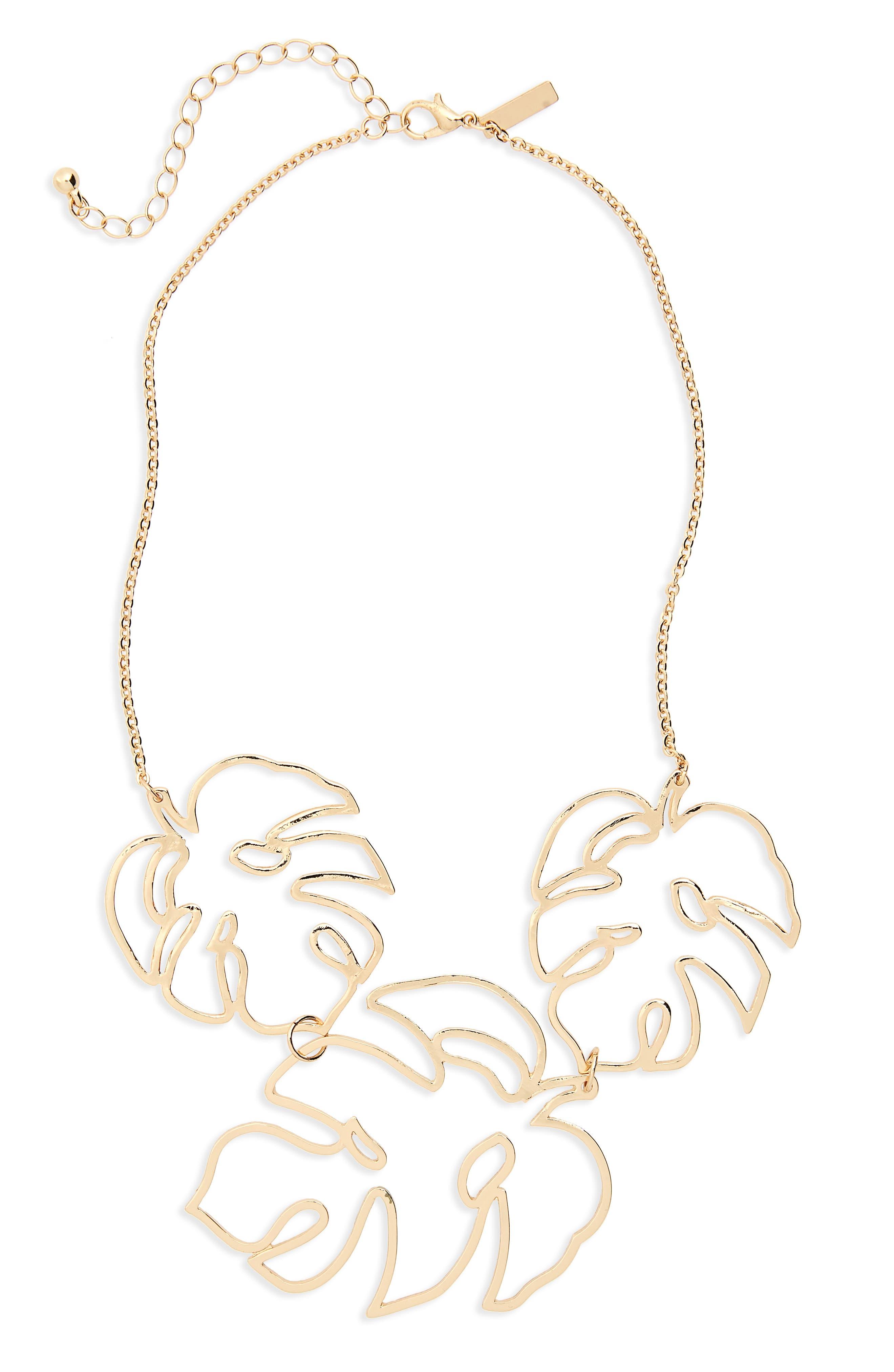 Cutout Leaf Collar Necklace,                         Main,                         color, 710