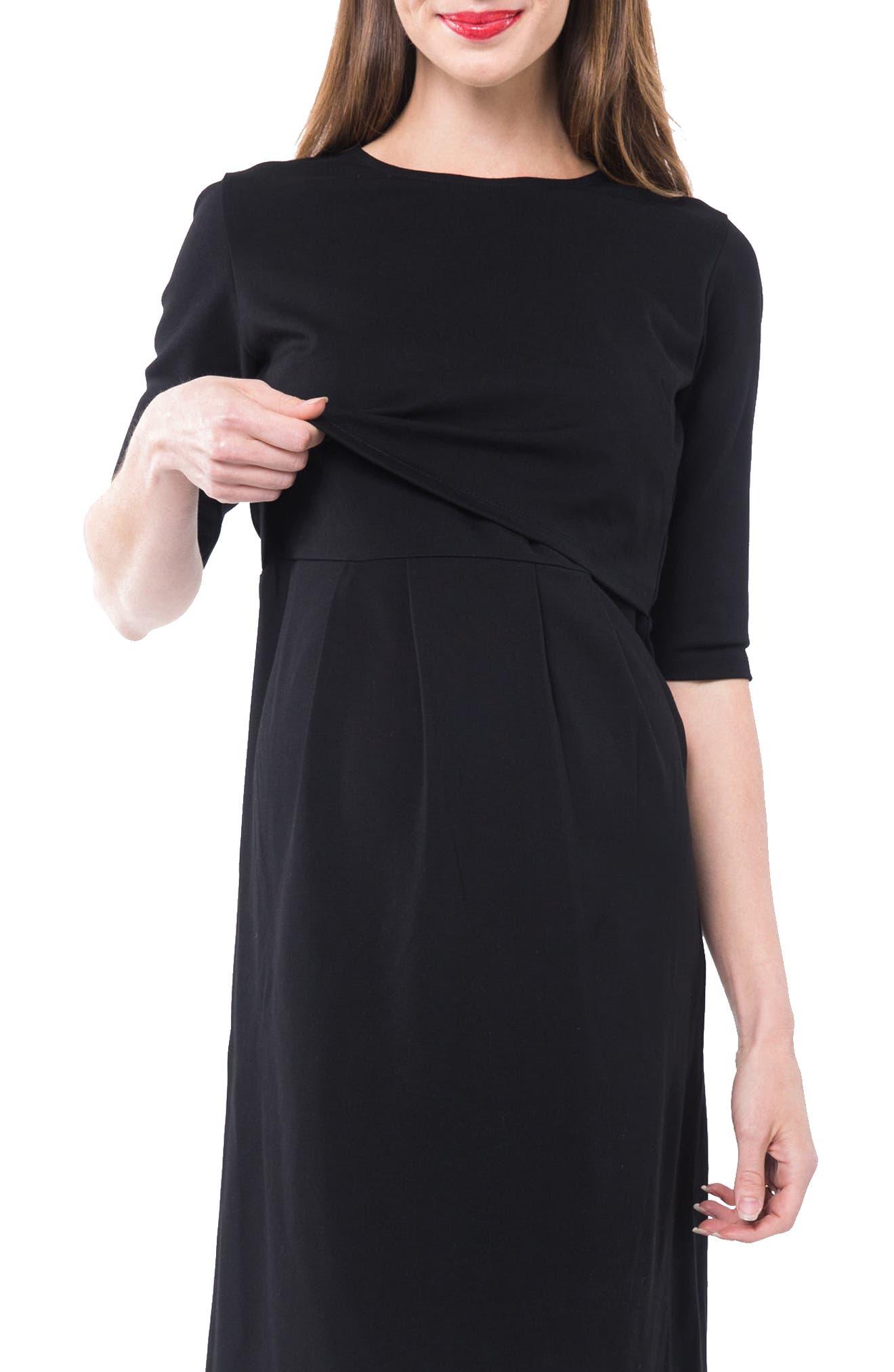 Valentina Ponté Knit Maternity/Nursing Dress,                             Alternate thumbnail 4, color,                             BLACK