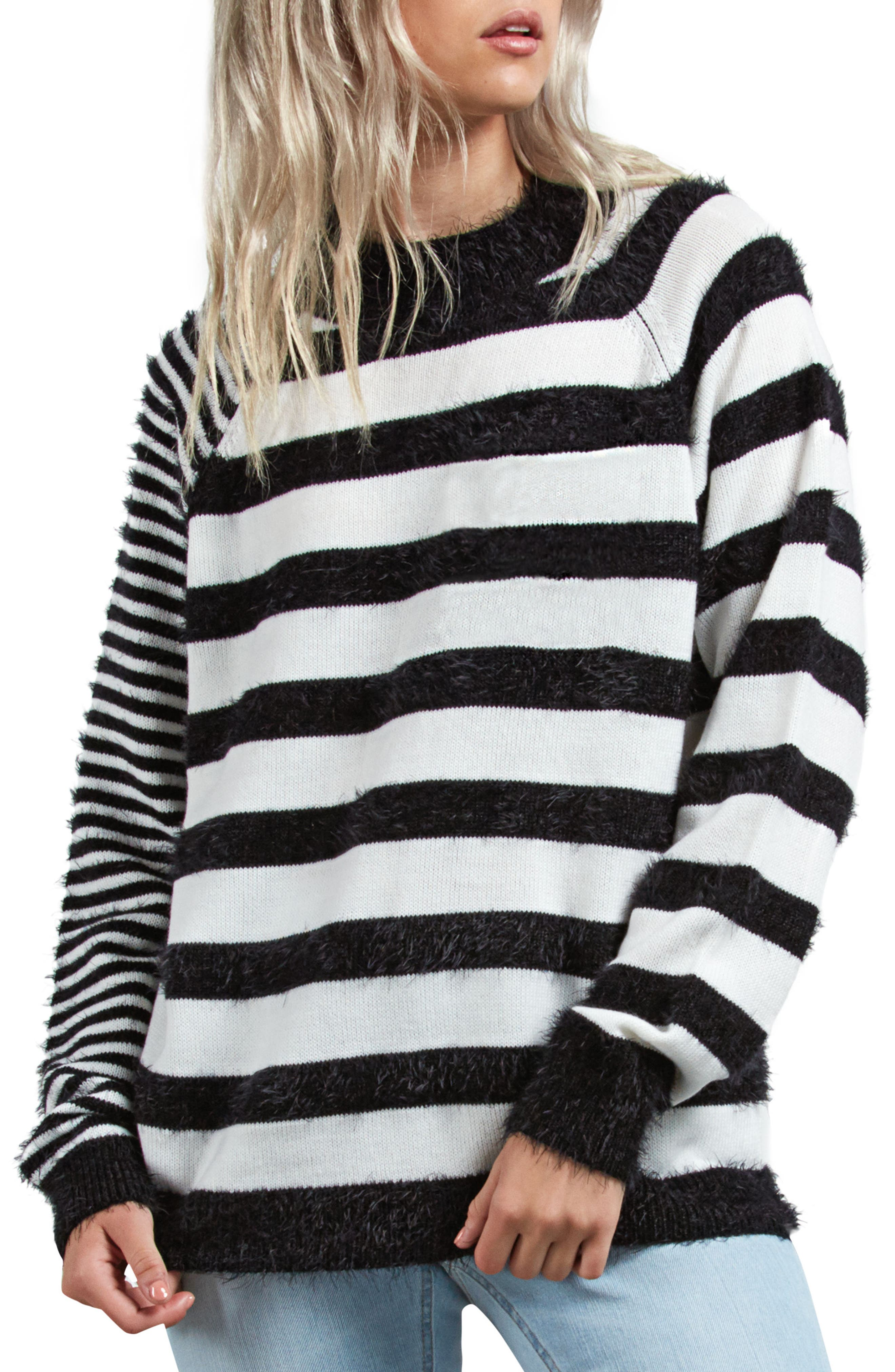 Need Space Stripe Sweater,                             Main thumbnail 1, color,                             BLACK