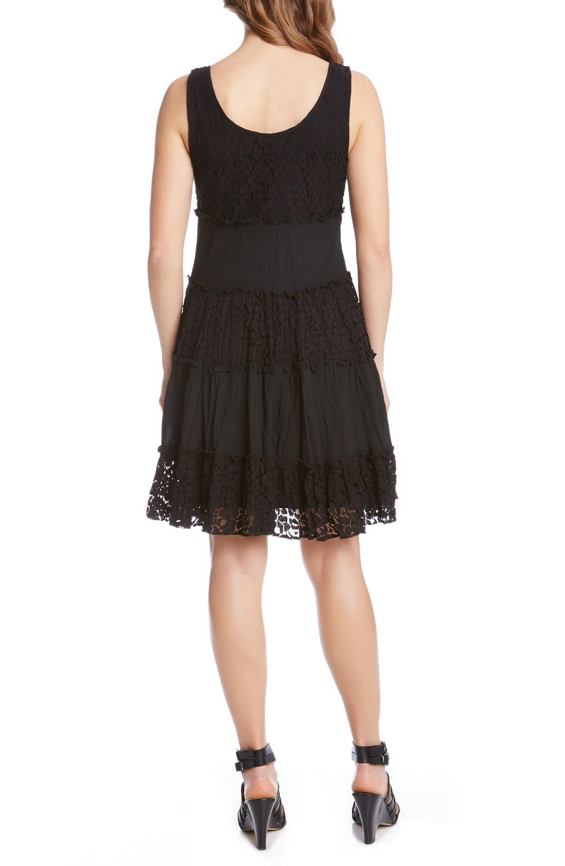 'Tara' Tiered Lace A-Line Dress,                             Alternate thumbnail 2, color,                             001