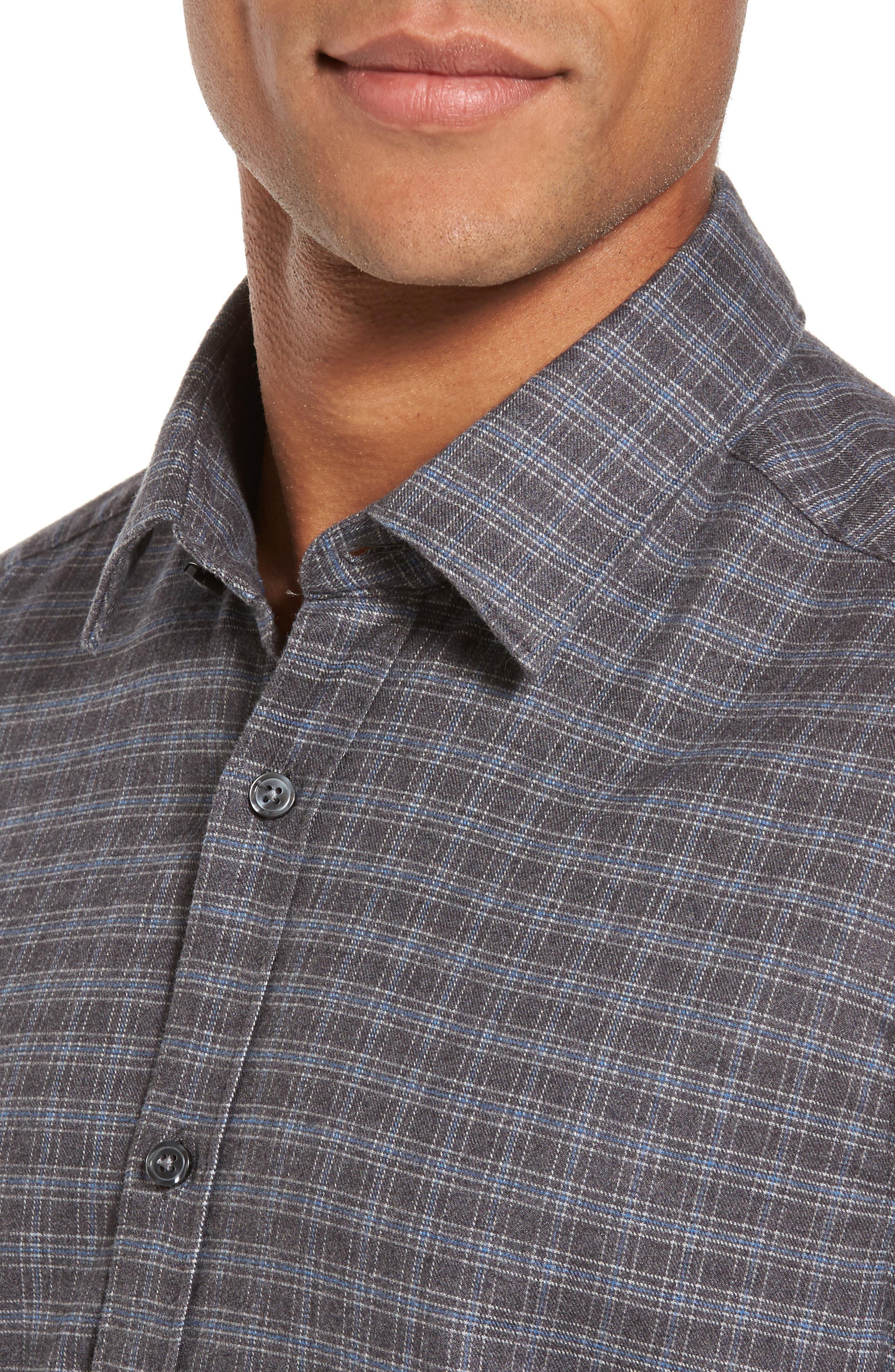 Lance Slim Fit Flannel Sport Shirt,                             Alternate thumbnail 4, color,                             030