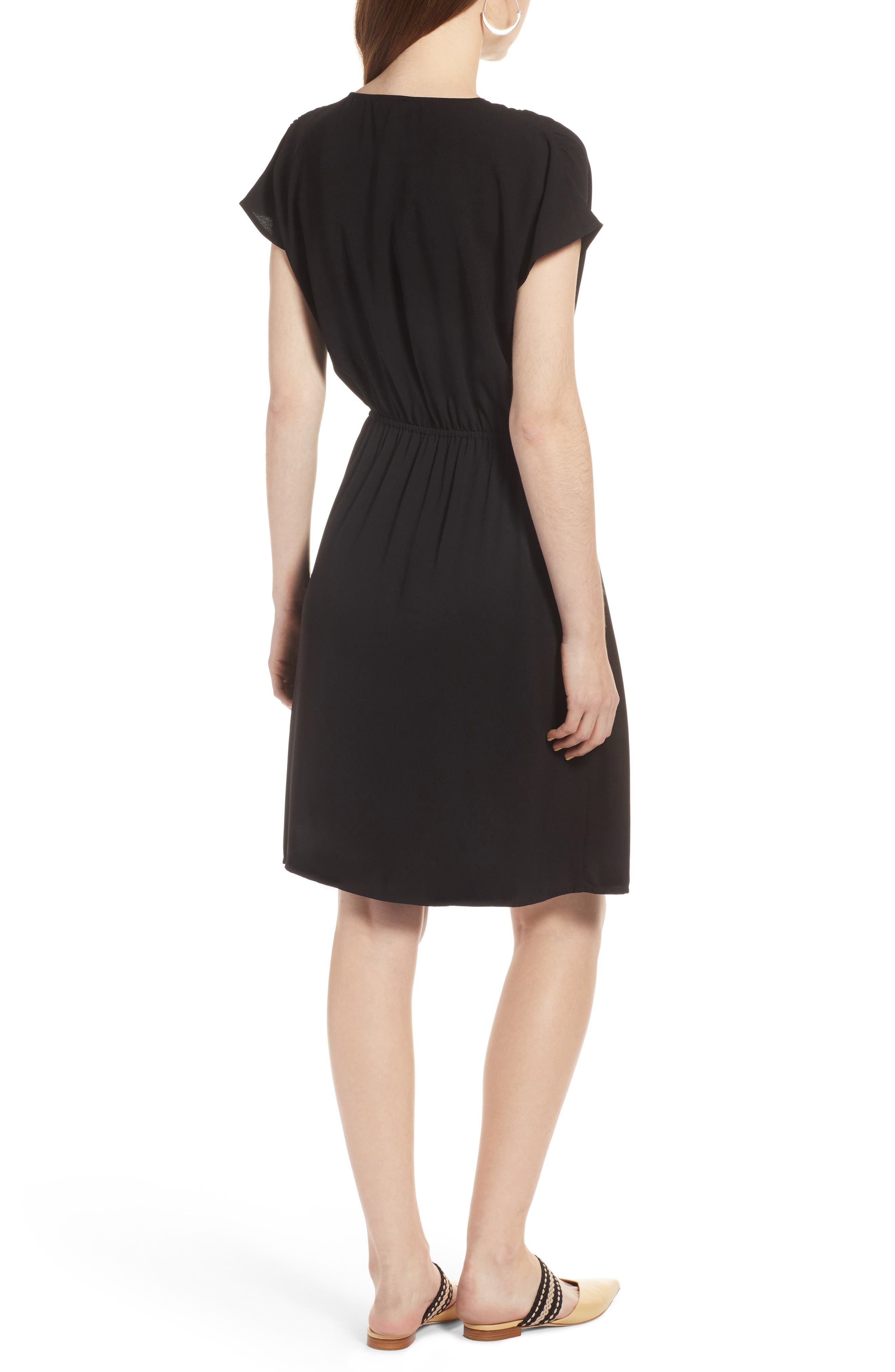 HALOGEN<SUP>®</SUP>, Faux Wrap Dress, Alternate thumbnail 2, color, BLACK