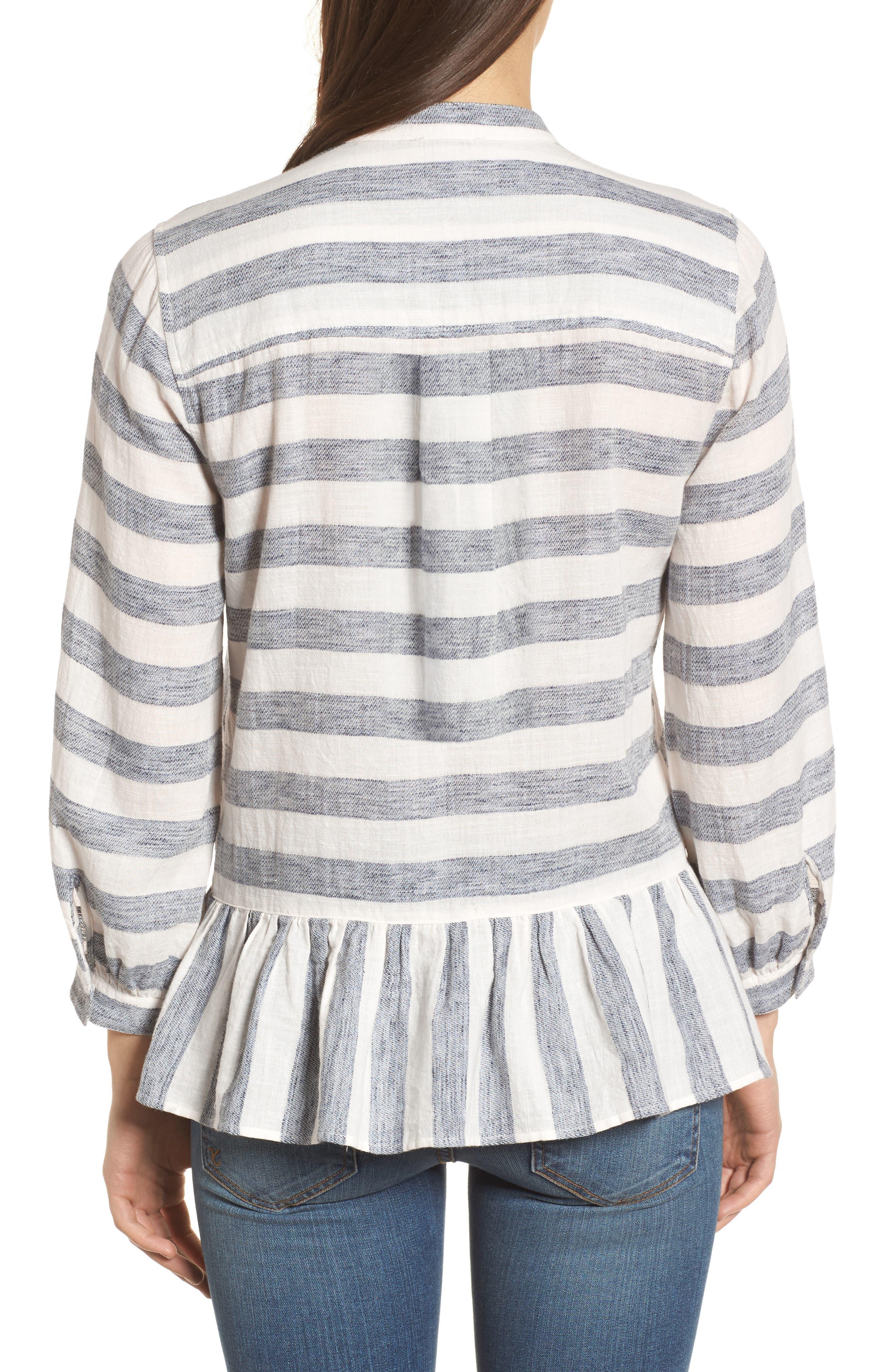 Stripe Peplum Top,                             Alternate thumbnail 2, color,