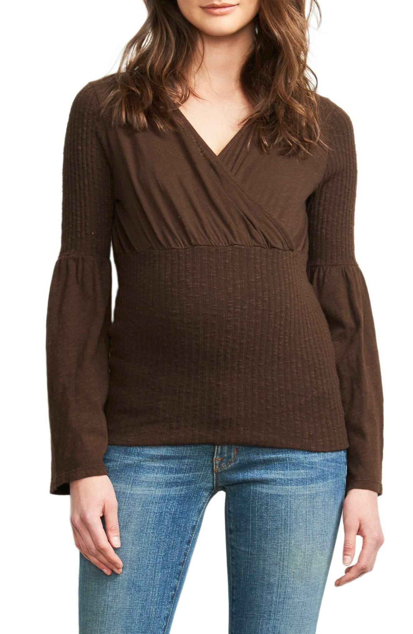 Belly Hug Knit Maternity Top,                             Main thumbnail 1, color,                             CHOCOLATE