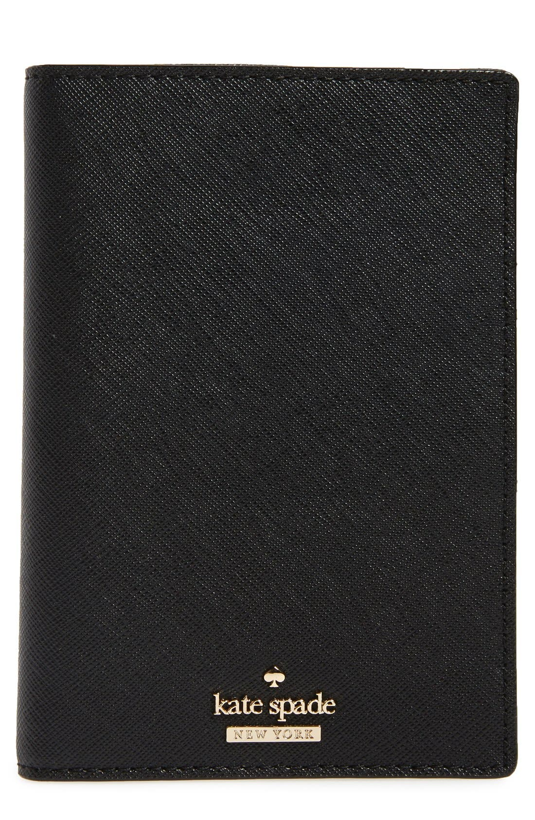 'cameron street' leather passport holder,                         Main,                         color, BLACK