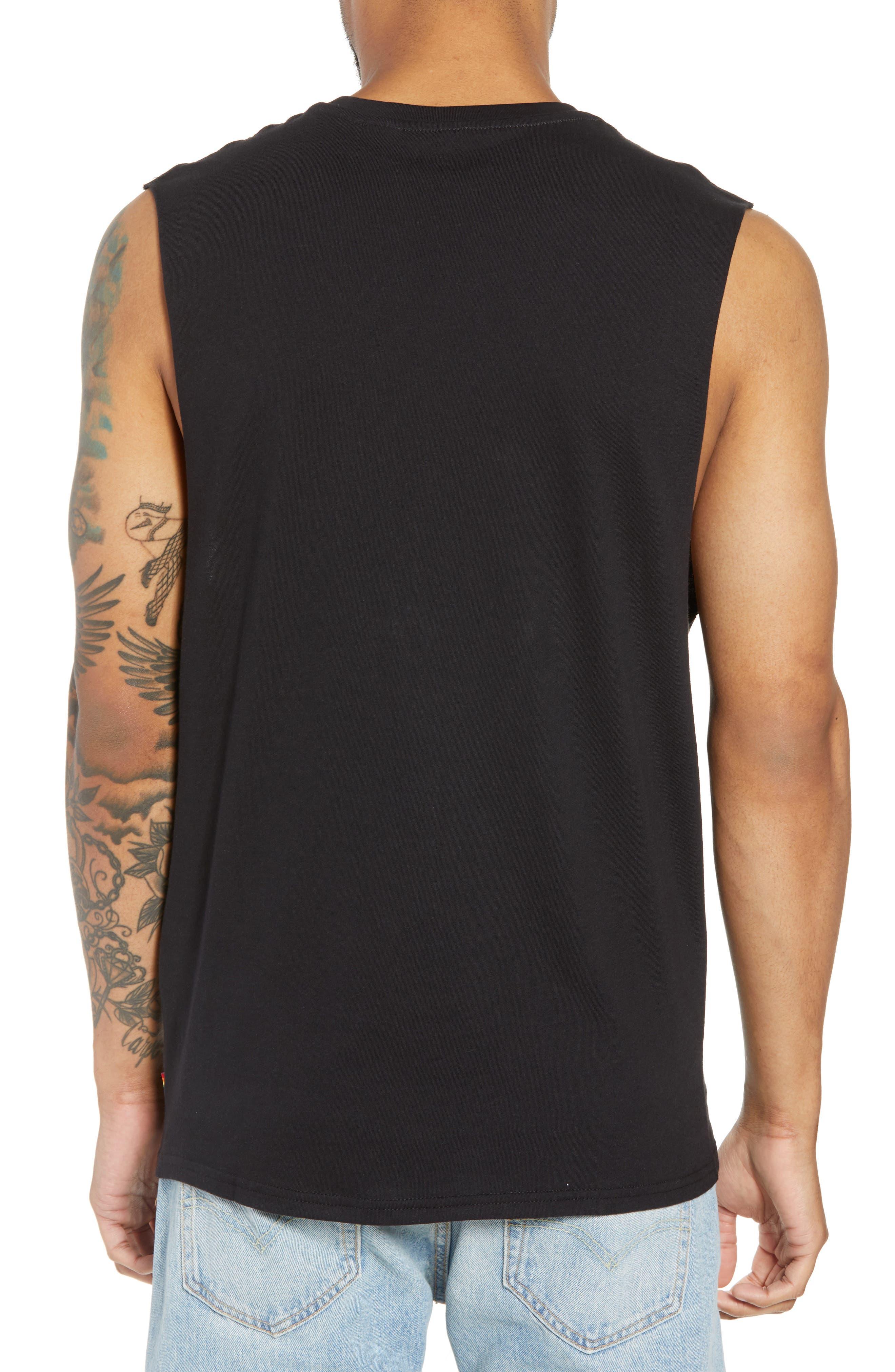 Community Sleeveless T-Shirt,                             Alternate thumbnail 2, color,                             RAINBOW GRADIENT BLACK