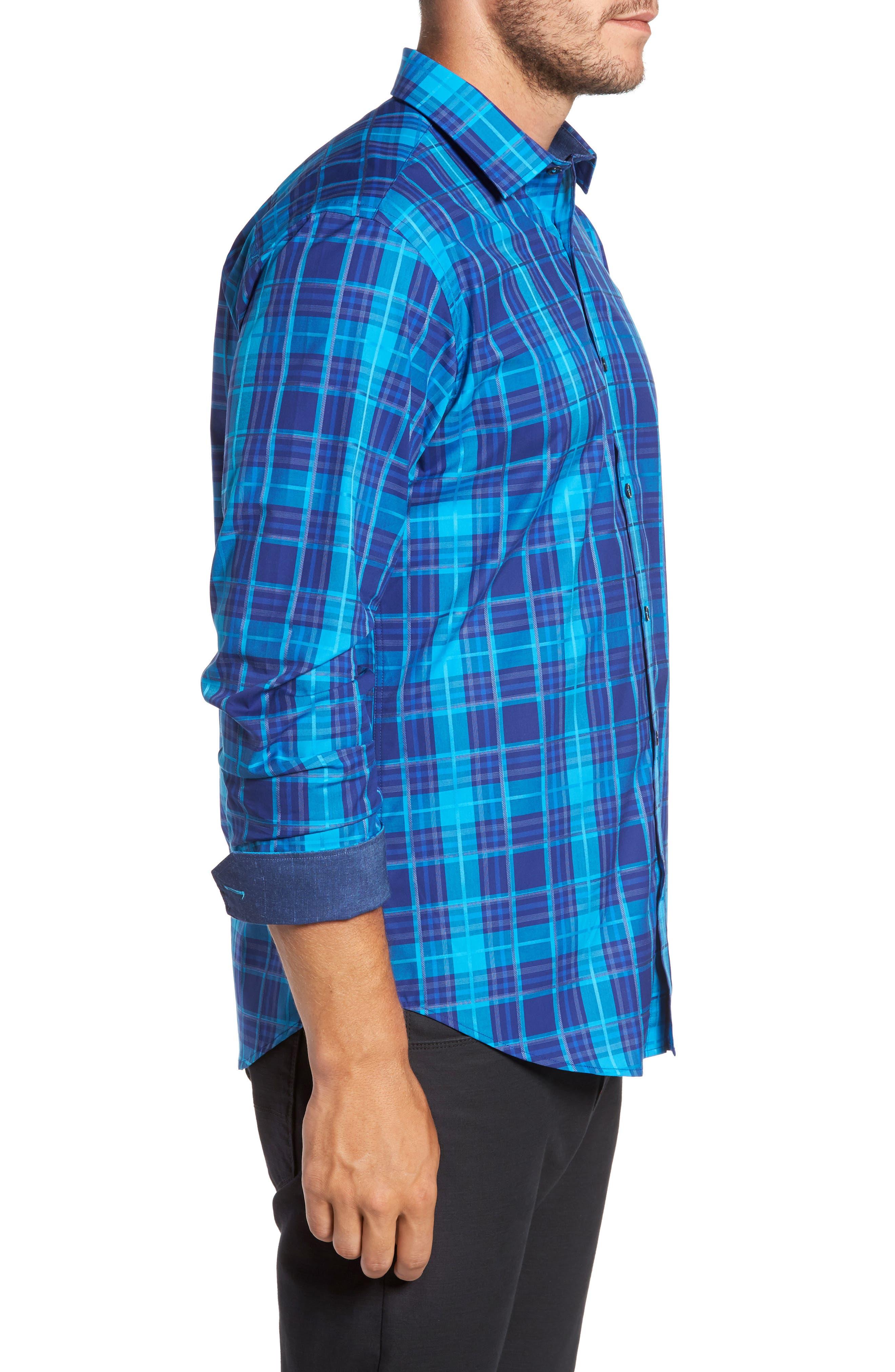 Trim Fit Plaid Sport Shirt,                             Alternate thumbnail 3, color,                             425