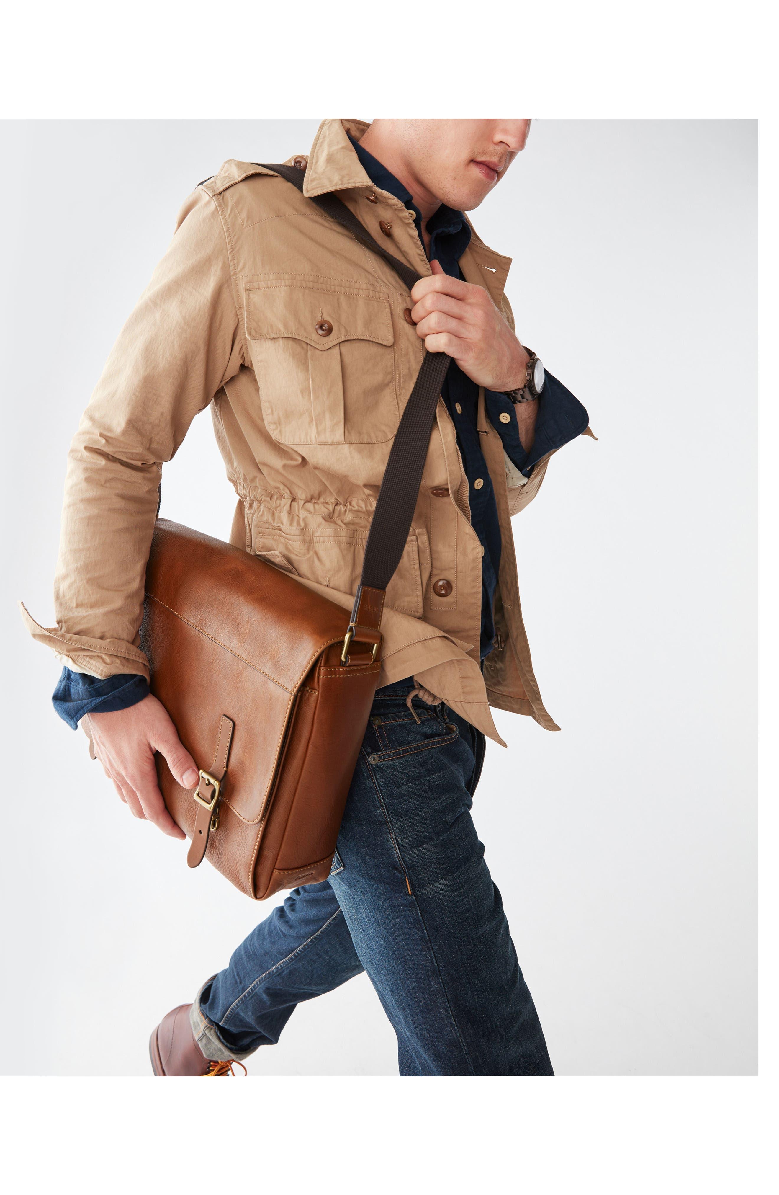 'Defender' Leather Messenger Bag,                             Alternate thumbnail 4, color,                             202