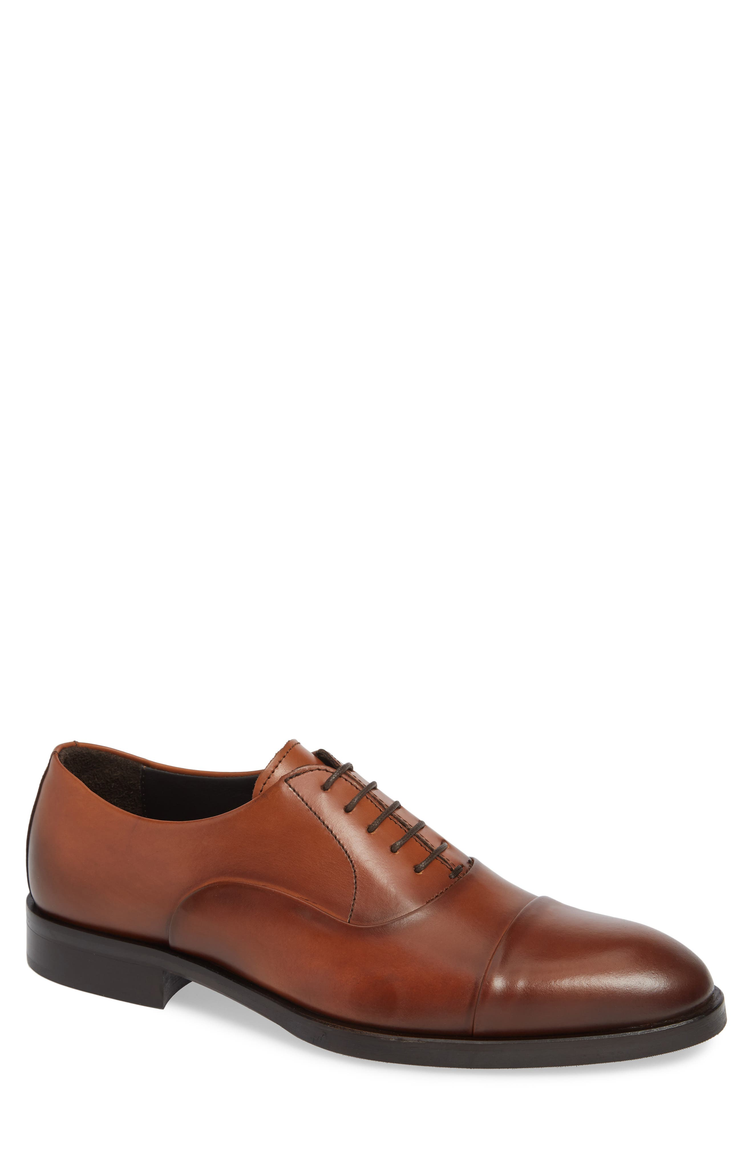 TO BOOT NEW YORK Men'S Hudson Leather Cap-Toe Oxfords in Vitello Cuoio Leather