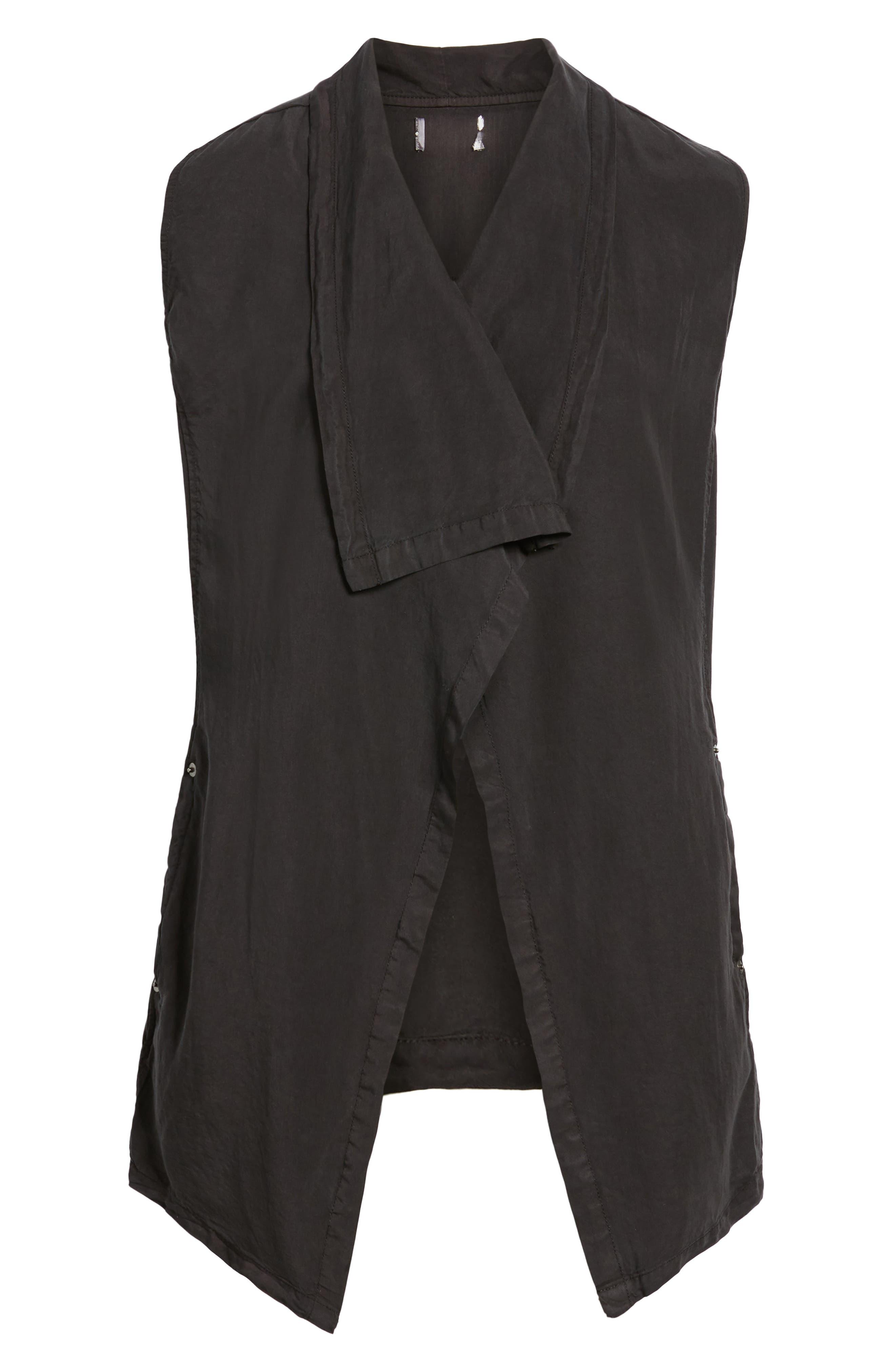 Drape Front Vest,                             Alternate thumbnail 6, color,                             BLACK SOOT