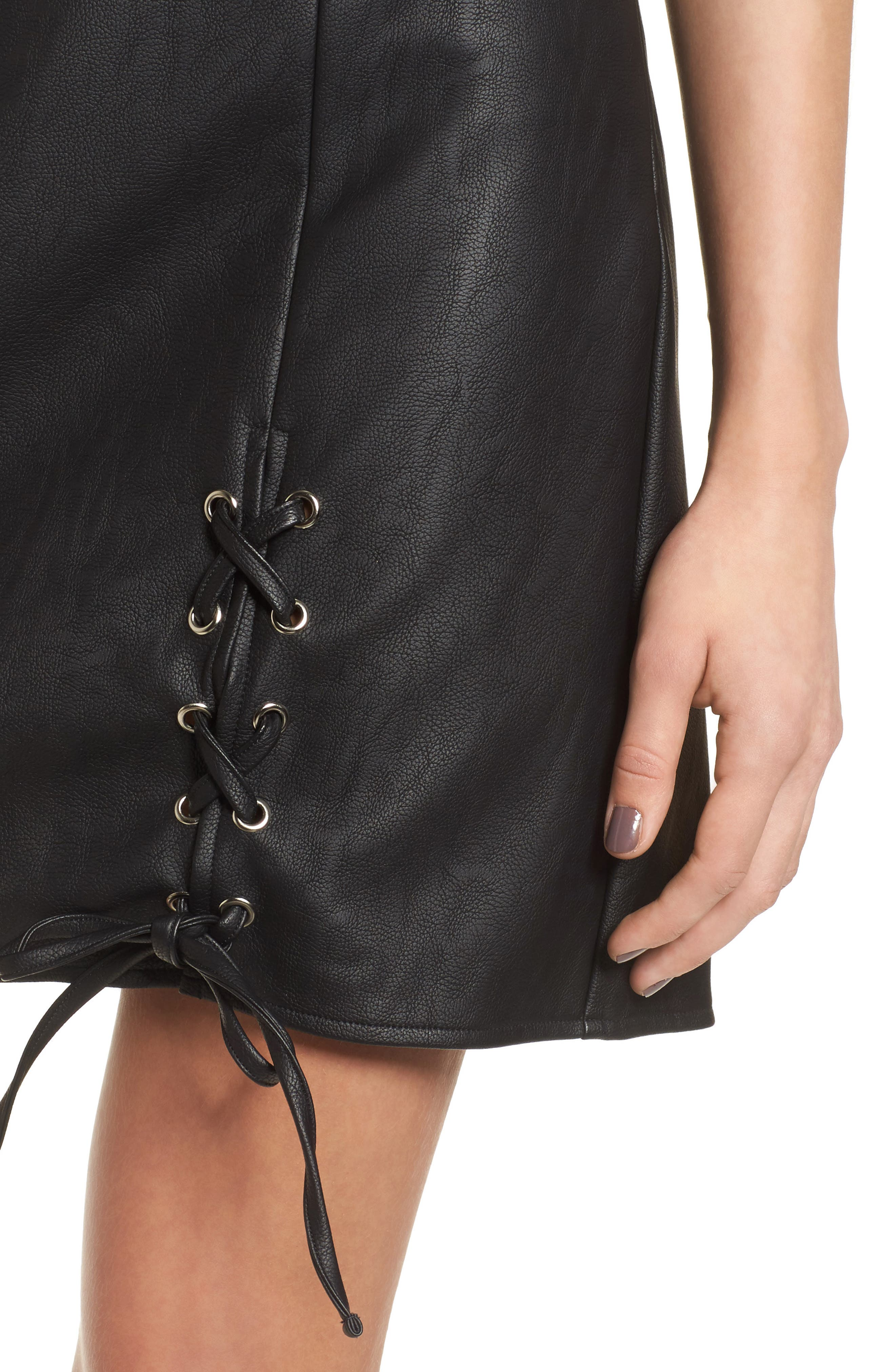 Dakota Lace Up Faux Leather Skirt,                             Alternate thumbnail 4, color,                             001