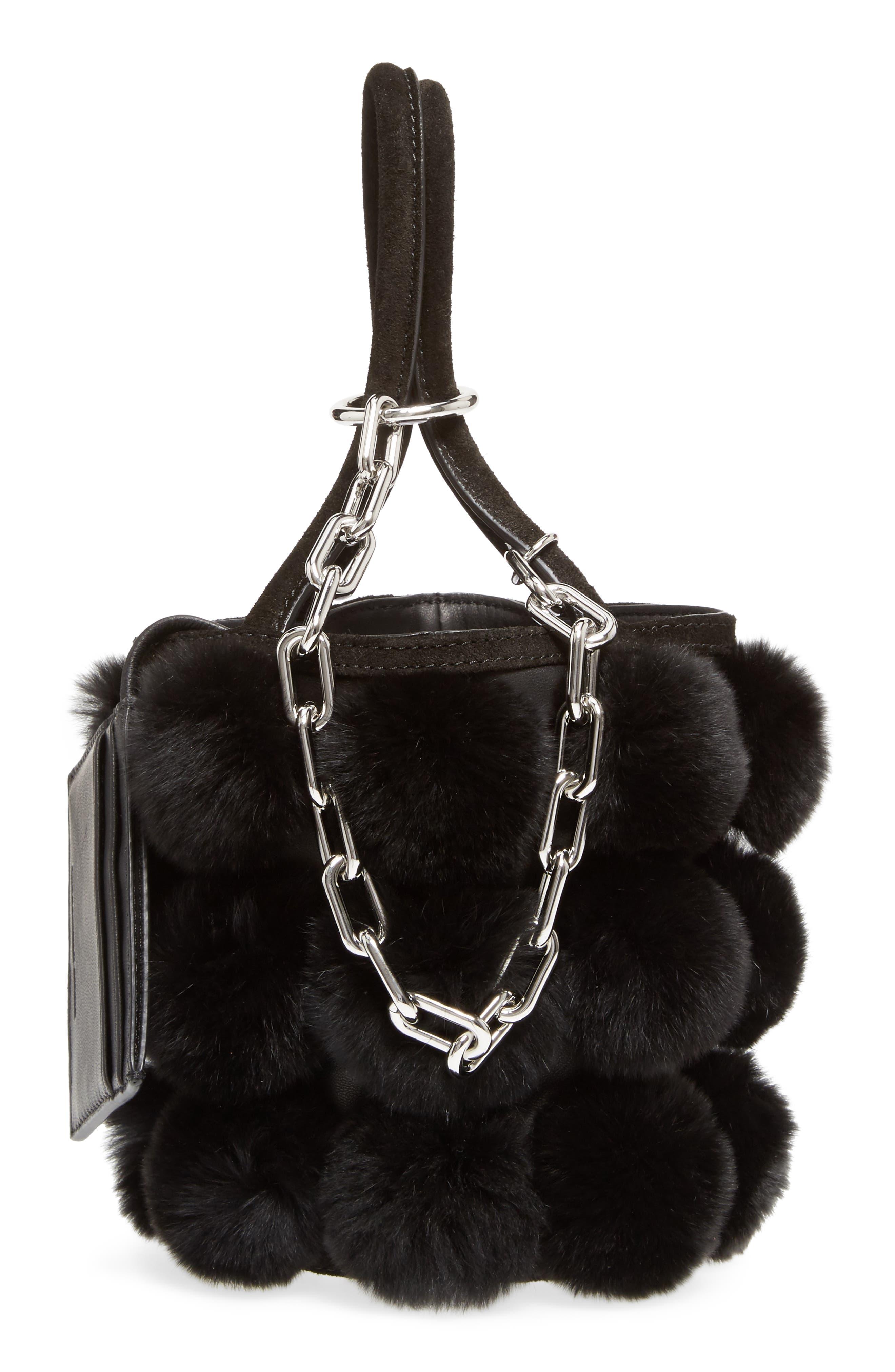 Mini Roxy Genuine Rabbit Fur Pompom Leather,                             Alternate thumbnail 5, color,                             001