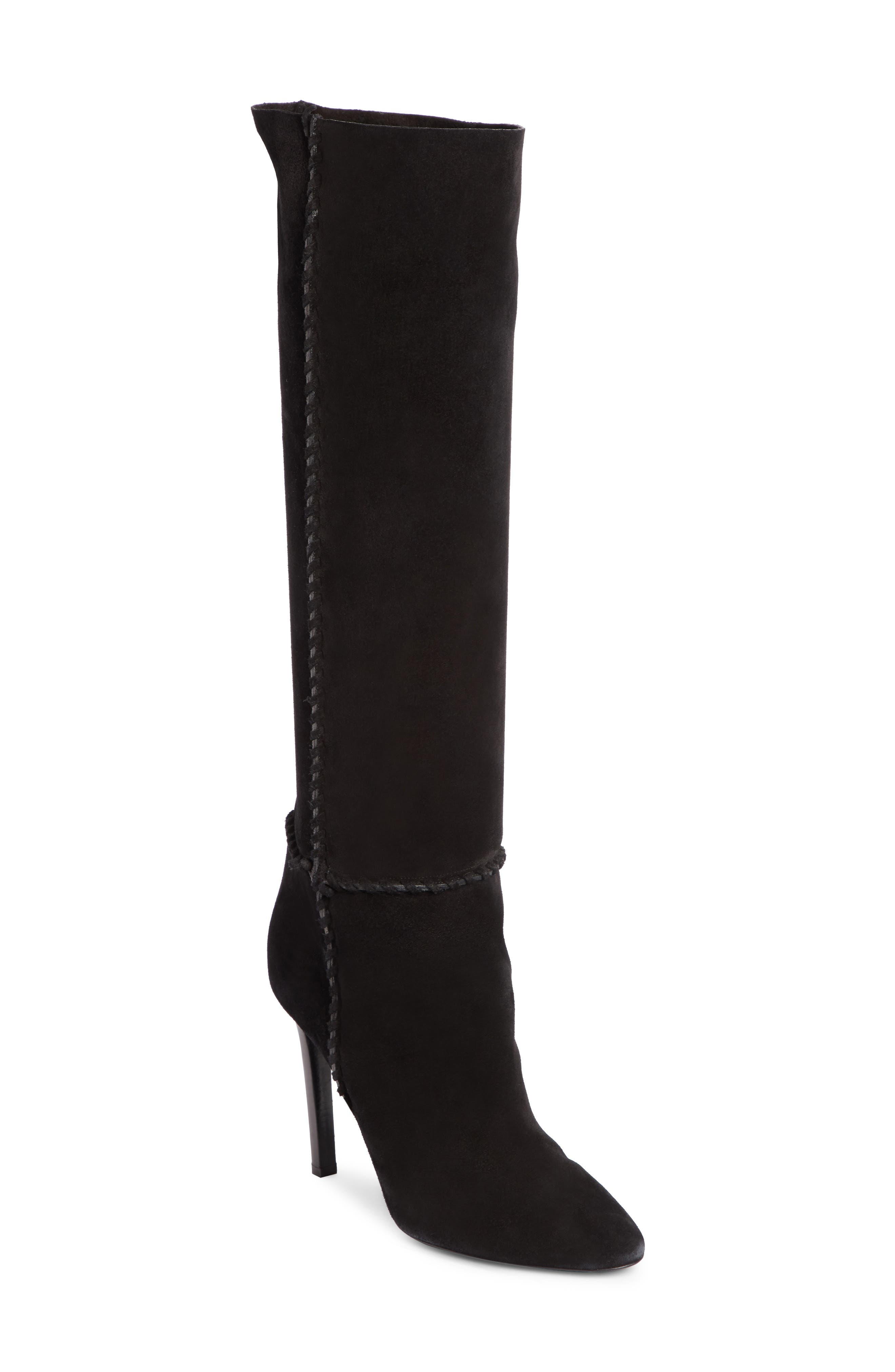 Mica Suede Knee Boots in Black Suede