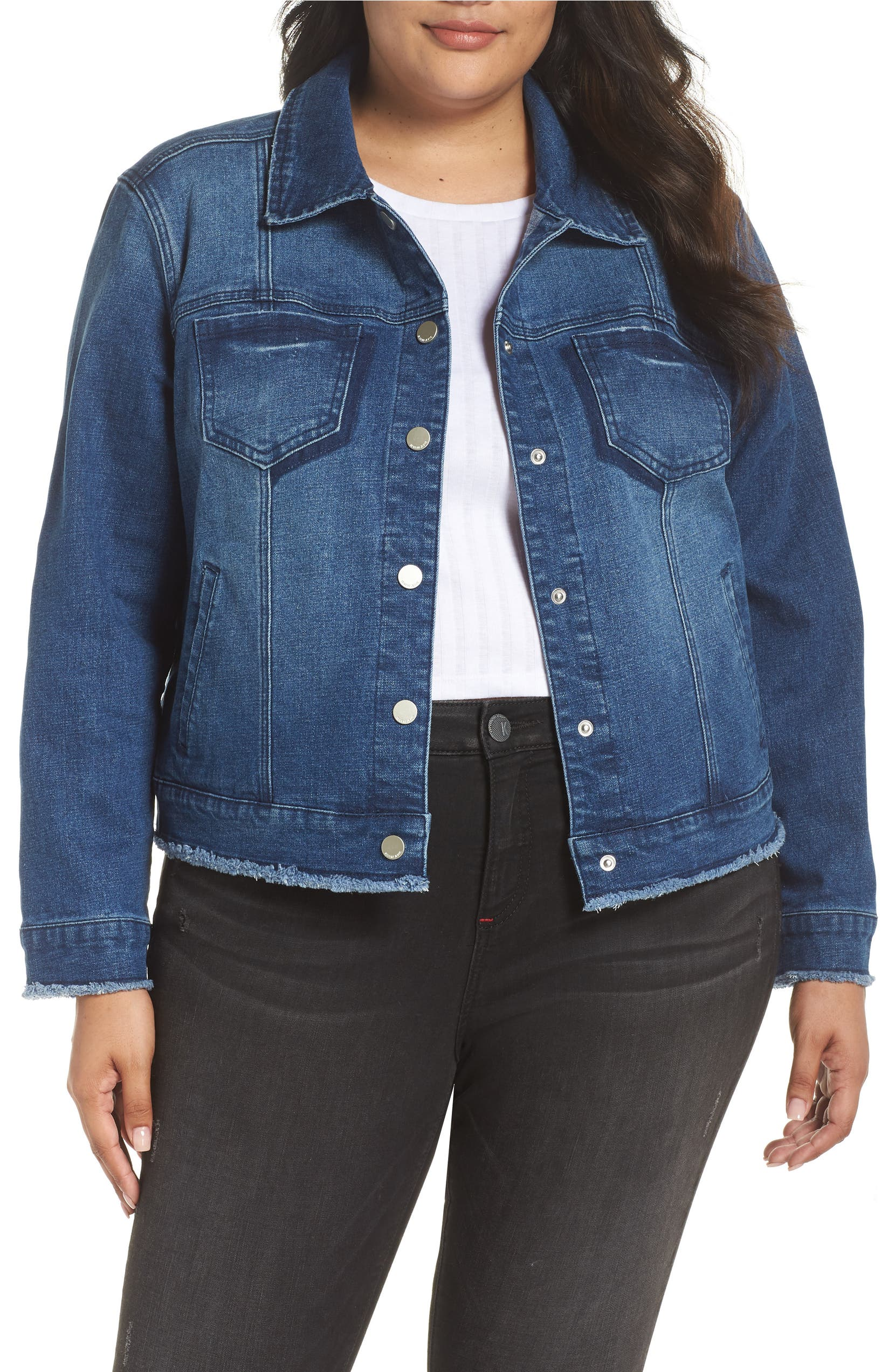 25b5a4a7b6916 Seven7 Signature Snap Denim Jacket (Plus Size)
