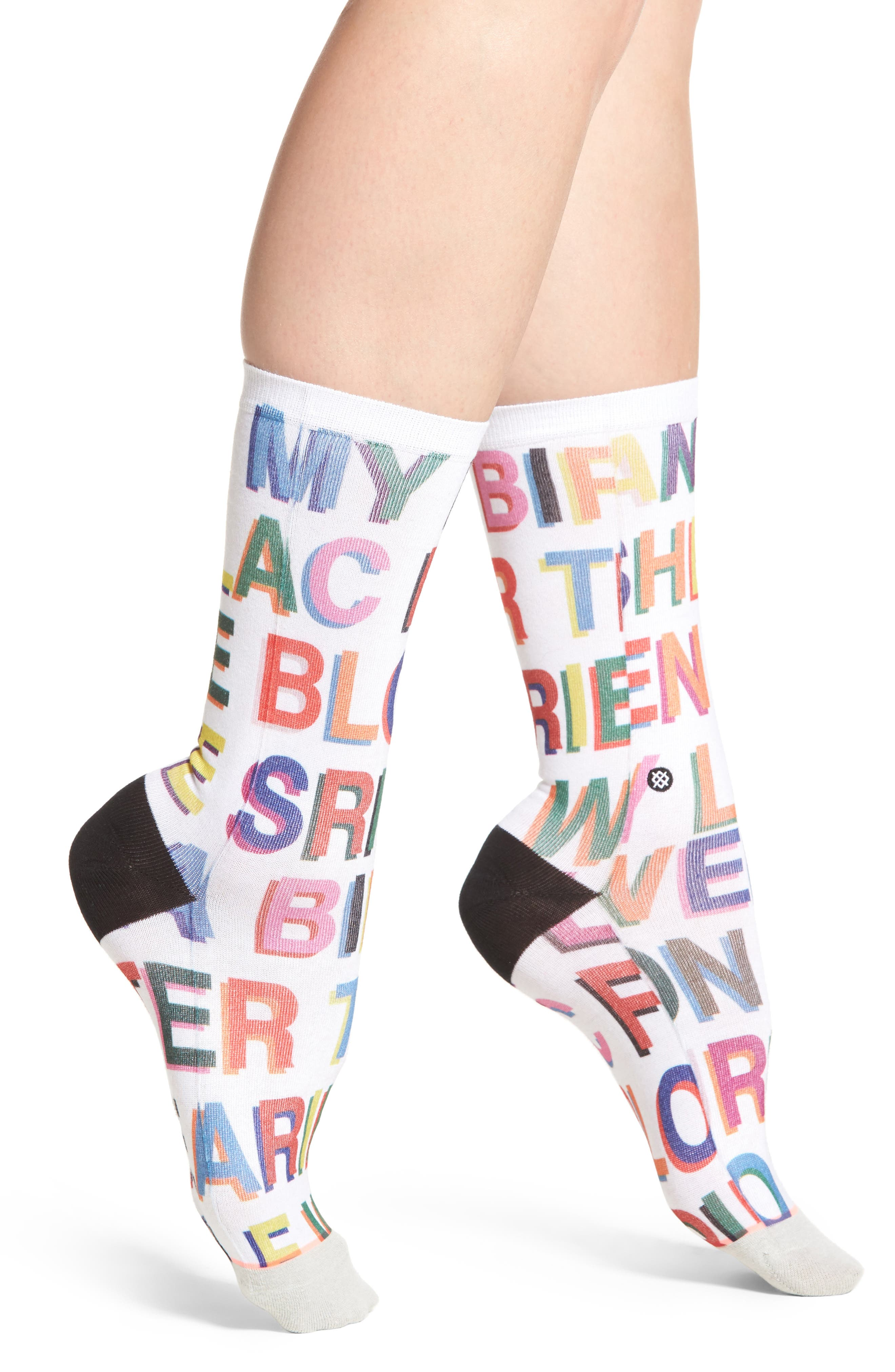 x Libertine Love Letters Crew Socks,                             Main thumbnail 1, color,