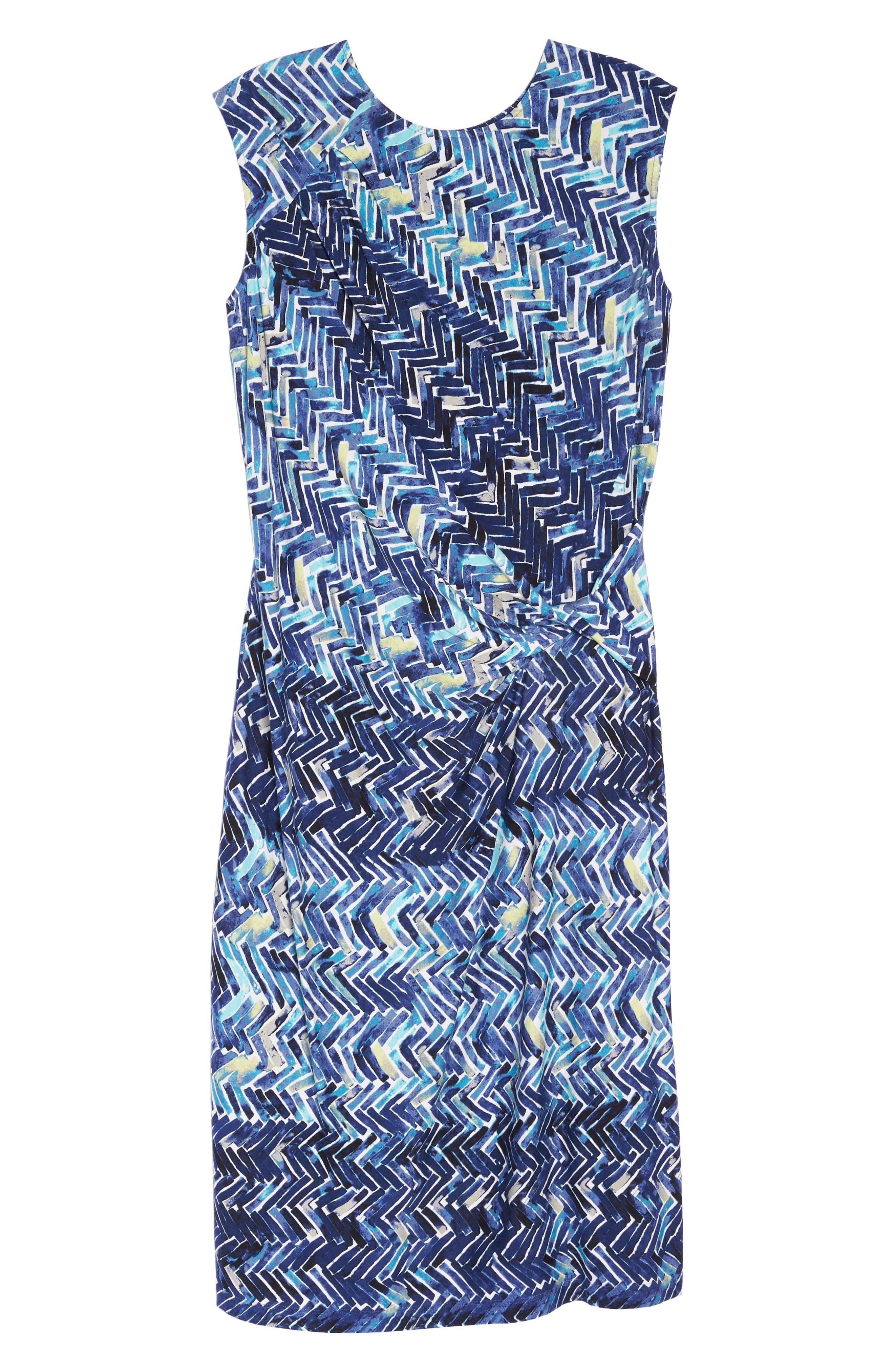 Seaside Tile Ruched Sheath Dress,                             Alternate thumbnail 7, color,