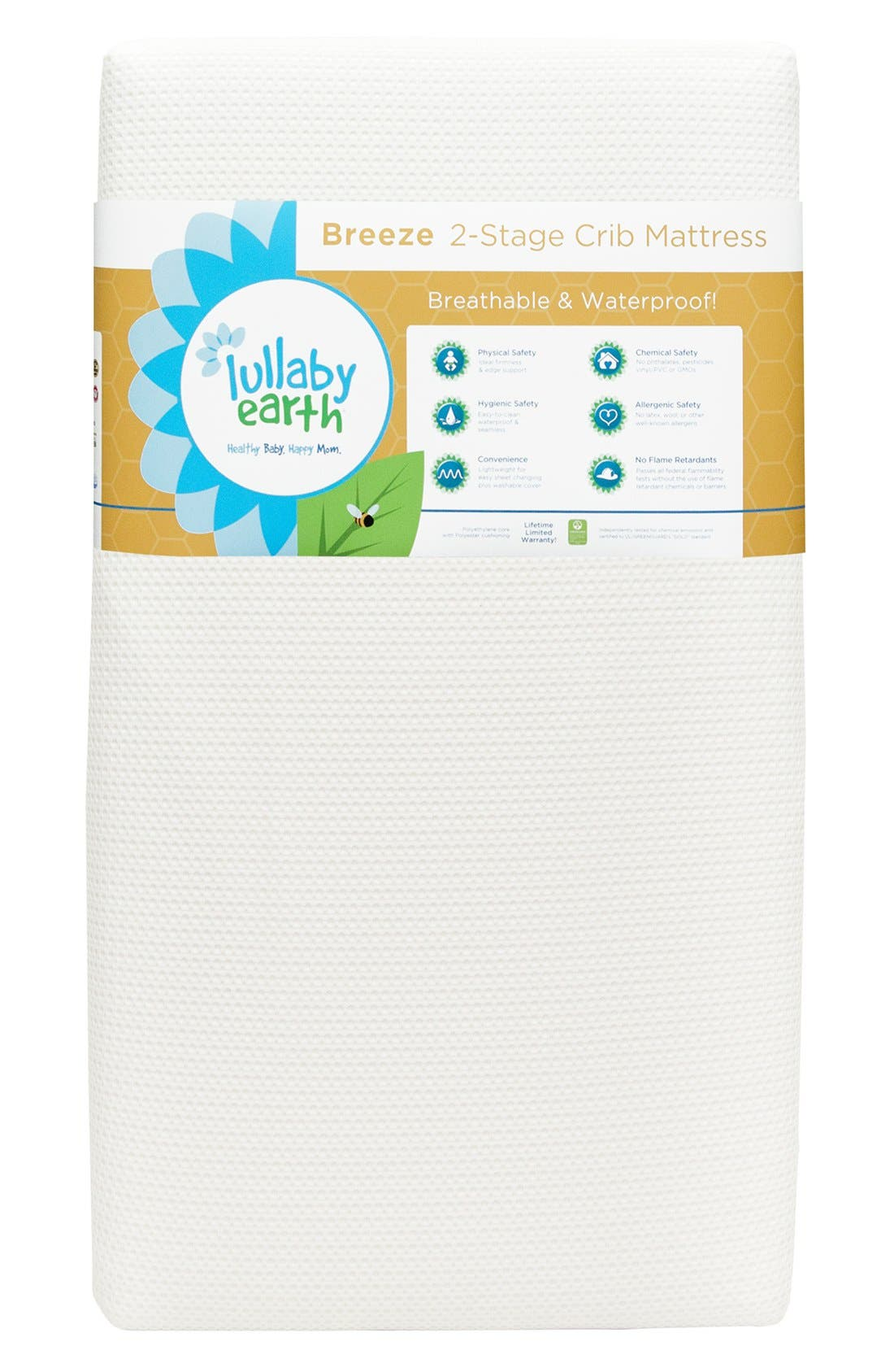 'Breeze' Two Stage Crib Mattress,                         Main,                         color, WHITE