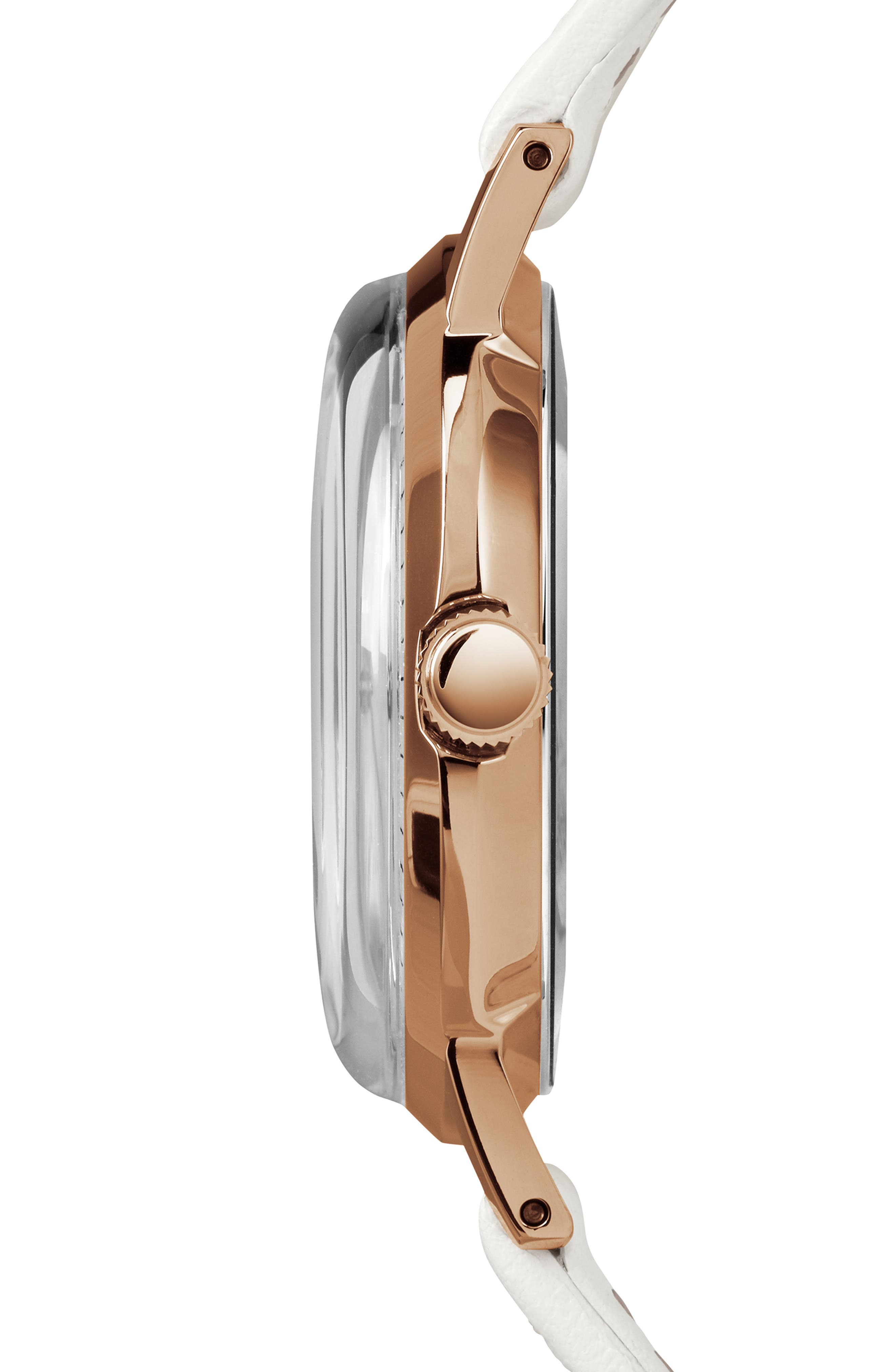 TIMEX<SUP>®</SUP>,                             Marlin Leather Strap Watch, 34mm,                             Alternate thumbnail 3, color,                             WHITE/SUNRAY/ ROSE GOLD