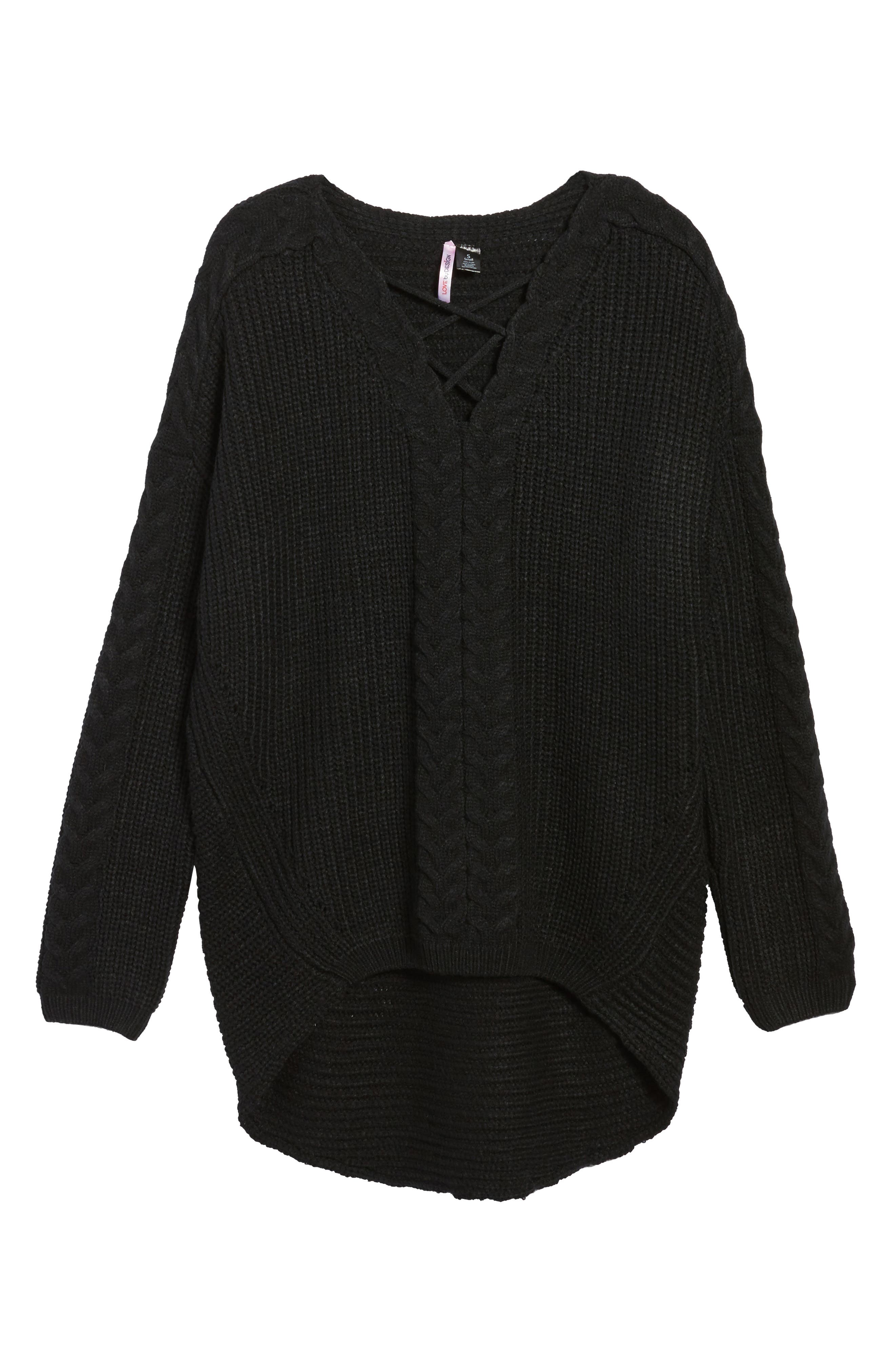Cross Front Braided Sweater,                             Alternate thumbnail 6, color,                             001