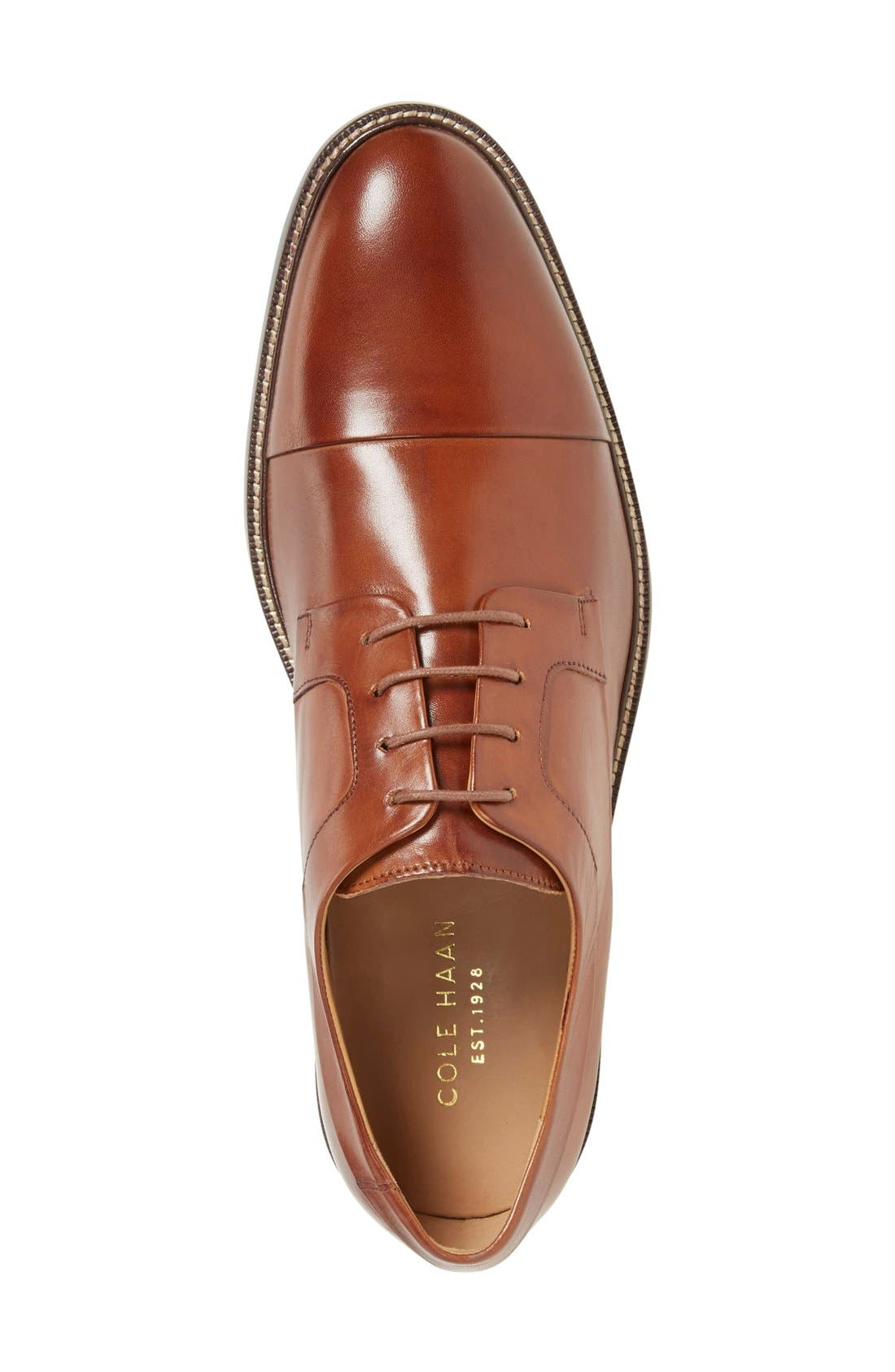 Warren Cap Toe Derby,                             Alternate thumbnail 7, color,                             BRITISH TAN LEATHER