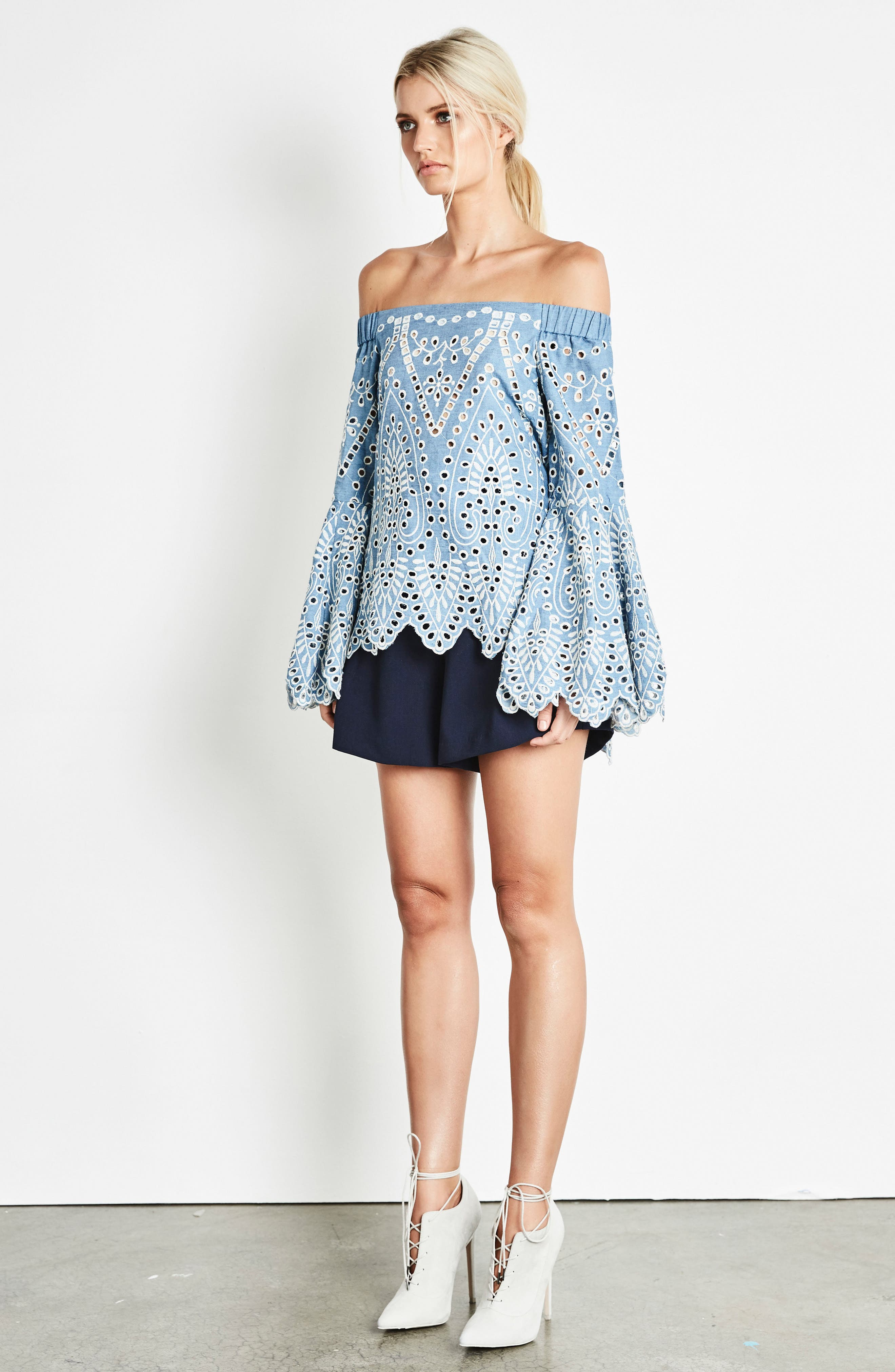 Off the Shoulder Chambray Top,                             Alternate thumbnail 7, color,                             422