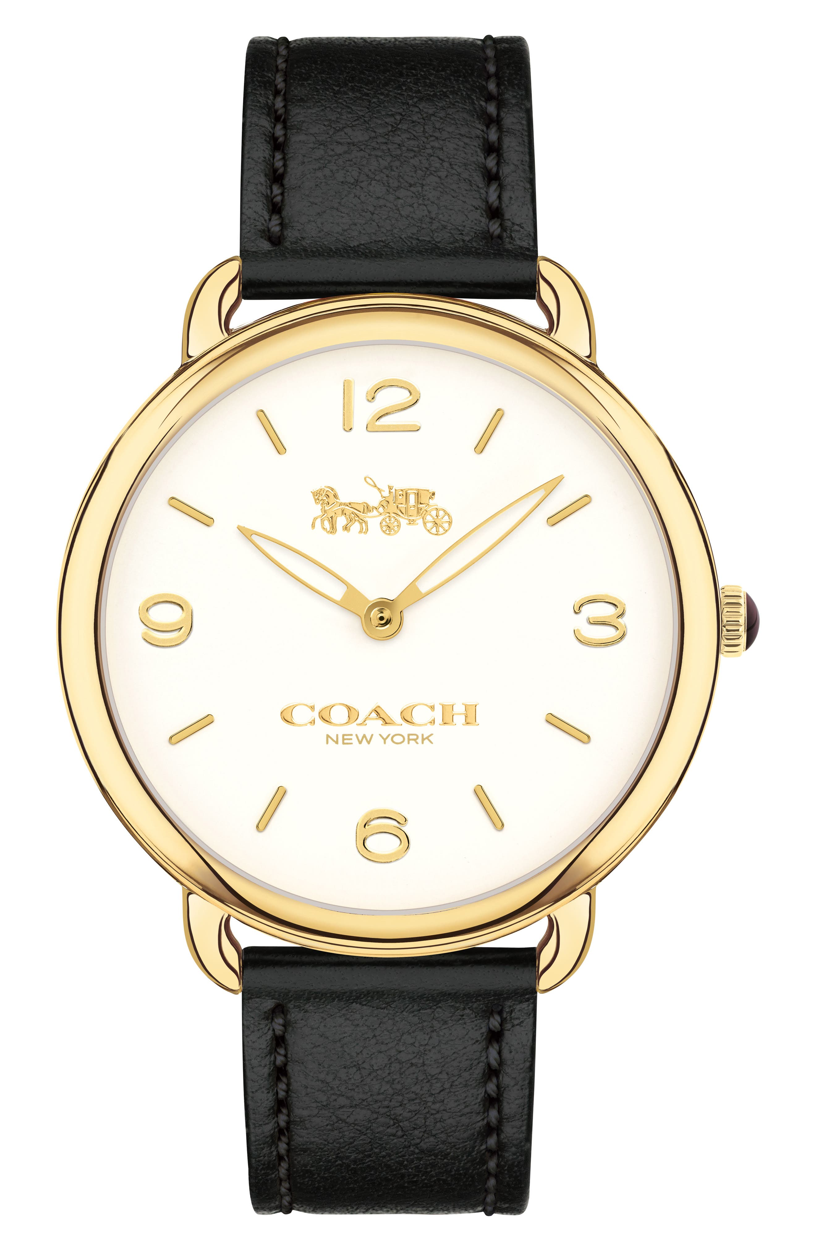 COACH,                             Delancey Slim Leather Strap Watch, 36mm,                             Main thumbnail 1, color,                             001