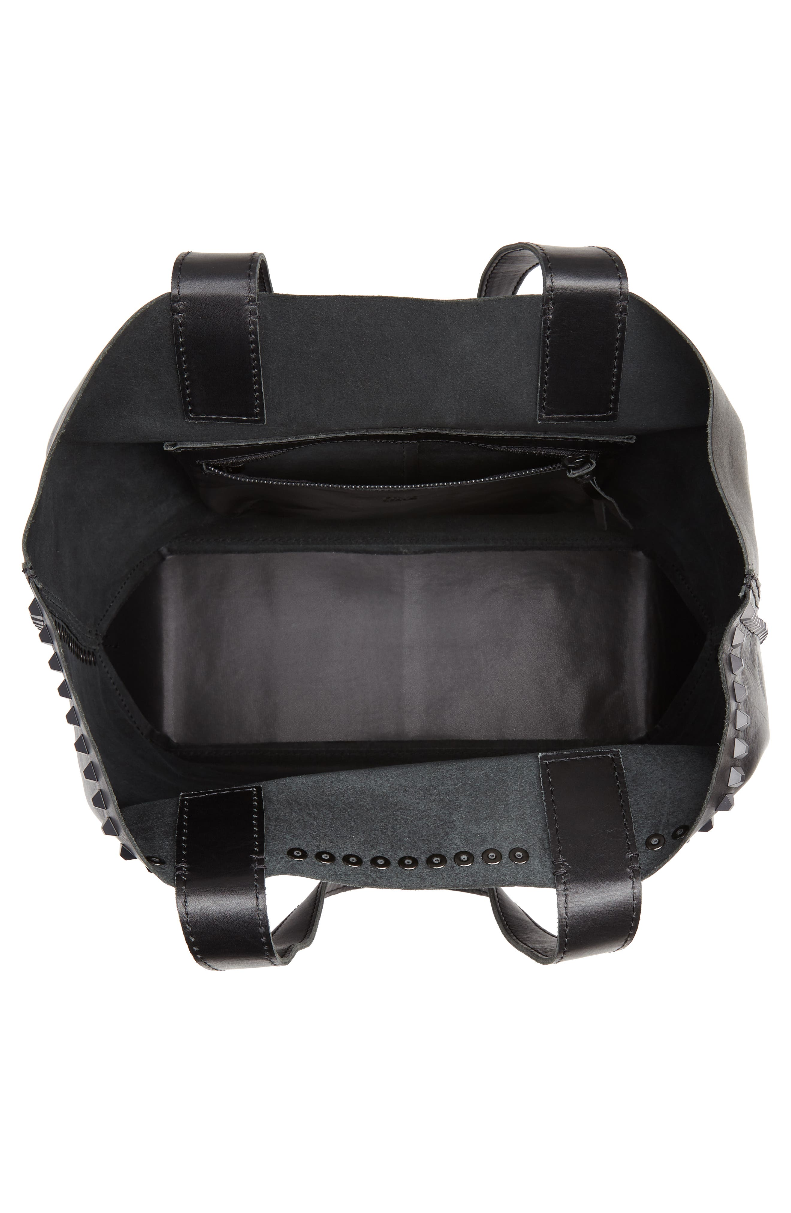 Carson Studded Leather Tote,                             Alternate thumbnail 4, color,                             BLACK