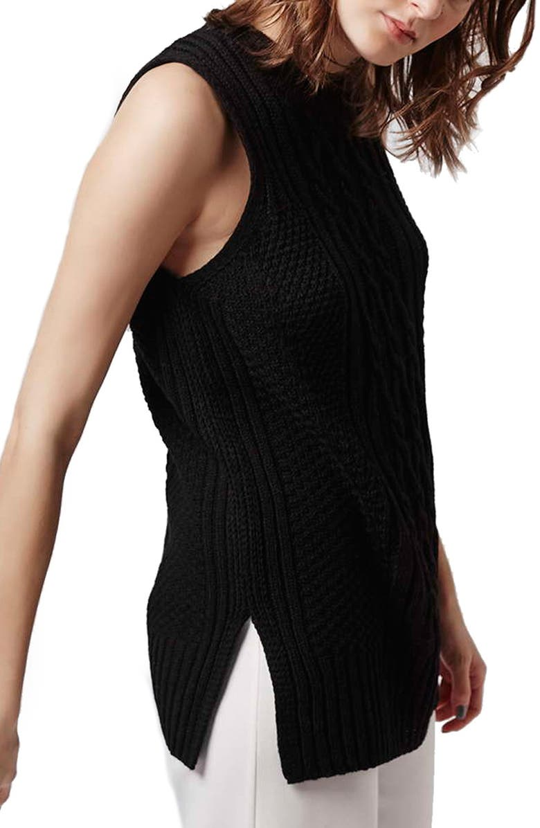 Topshop Cable Knit Sleeveless Sweater Nordstrom