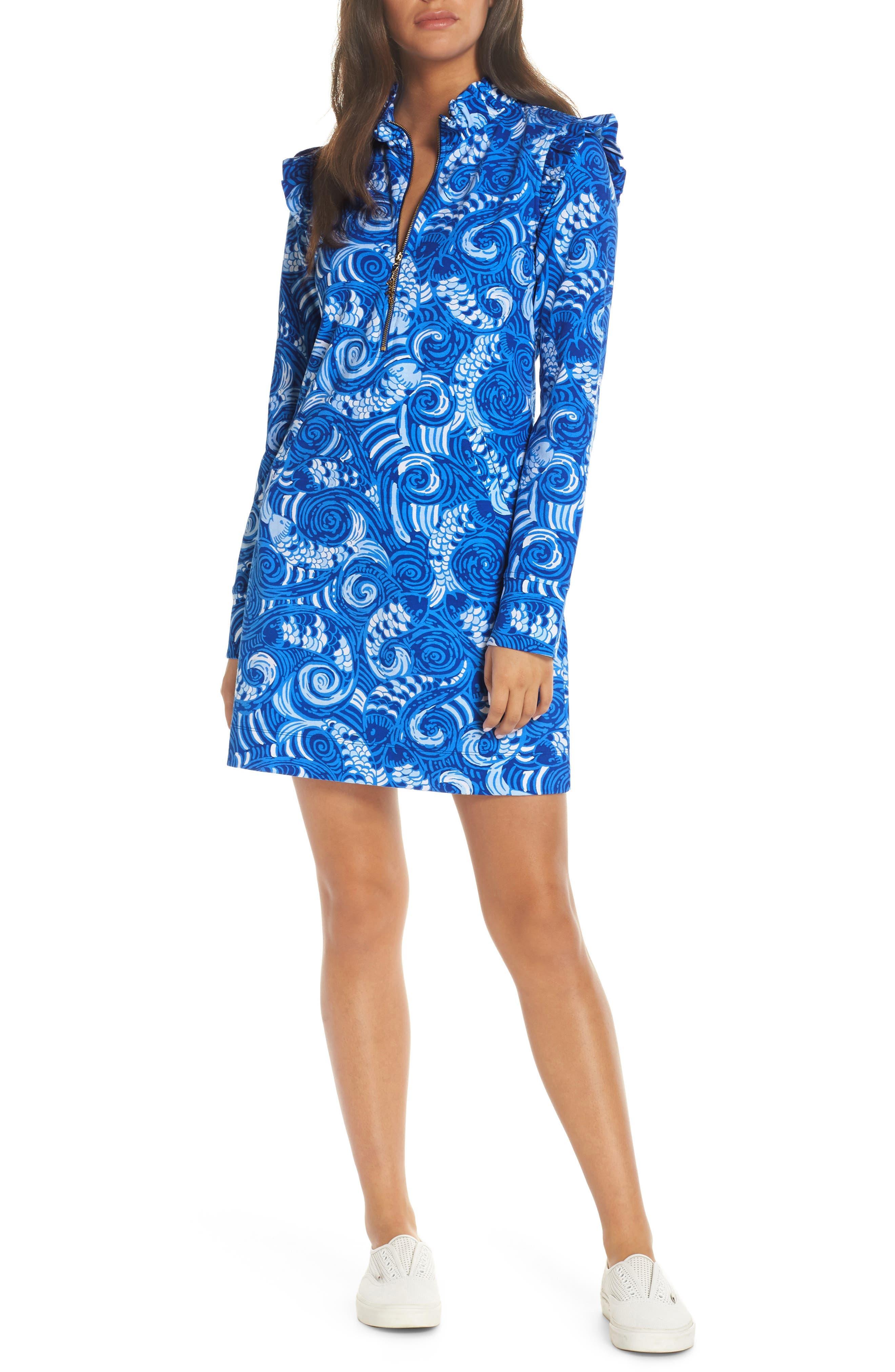 Lilly Pulitzer Skipper Upf 50+ Ruffle Shift Dress, Blue