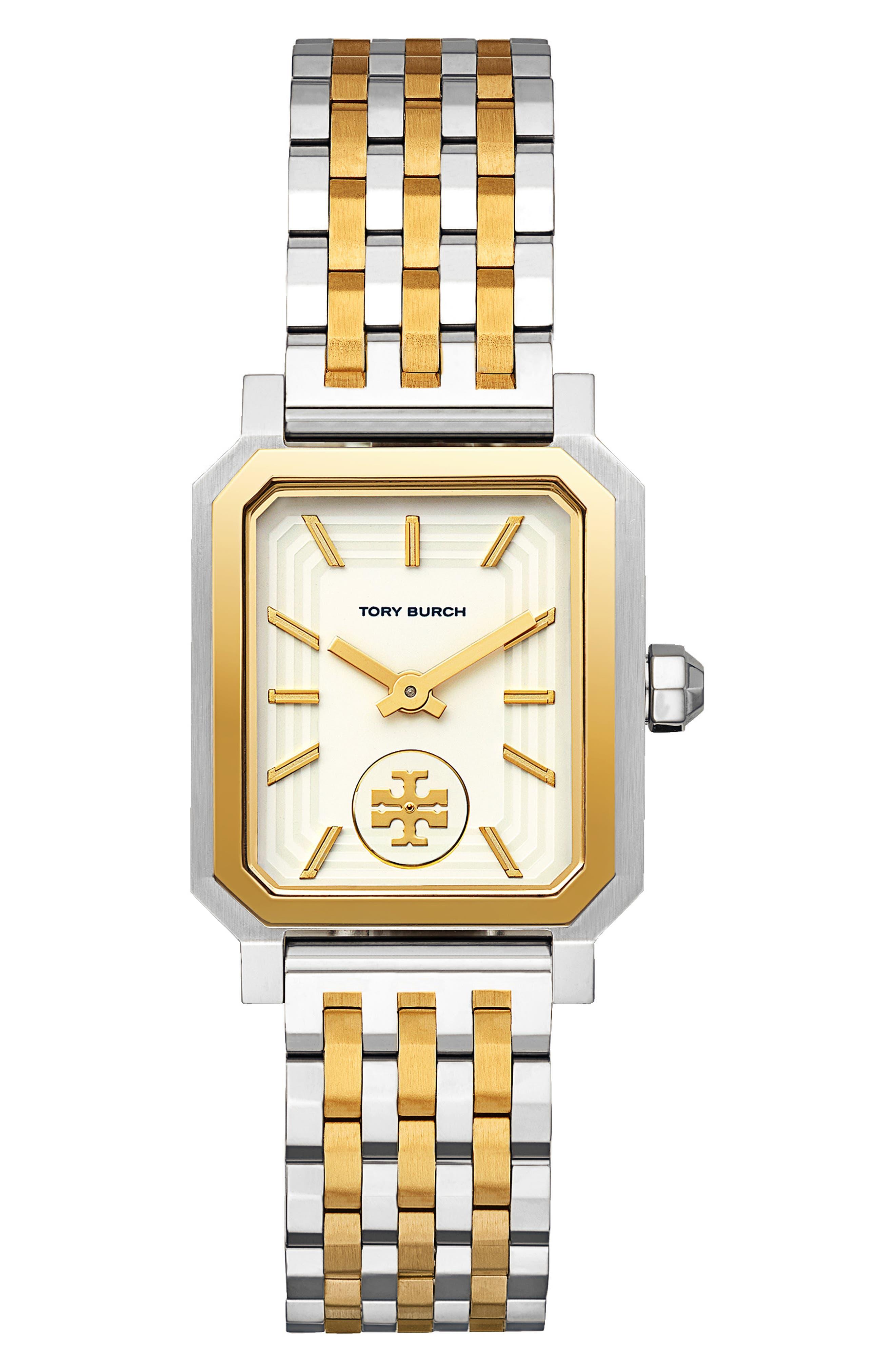 Robinson Mesh Bracelet Watch, 27mm x 29mm,                             Main thumbnail 1, color,                             SILVER/ WHITE/ GOLD