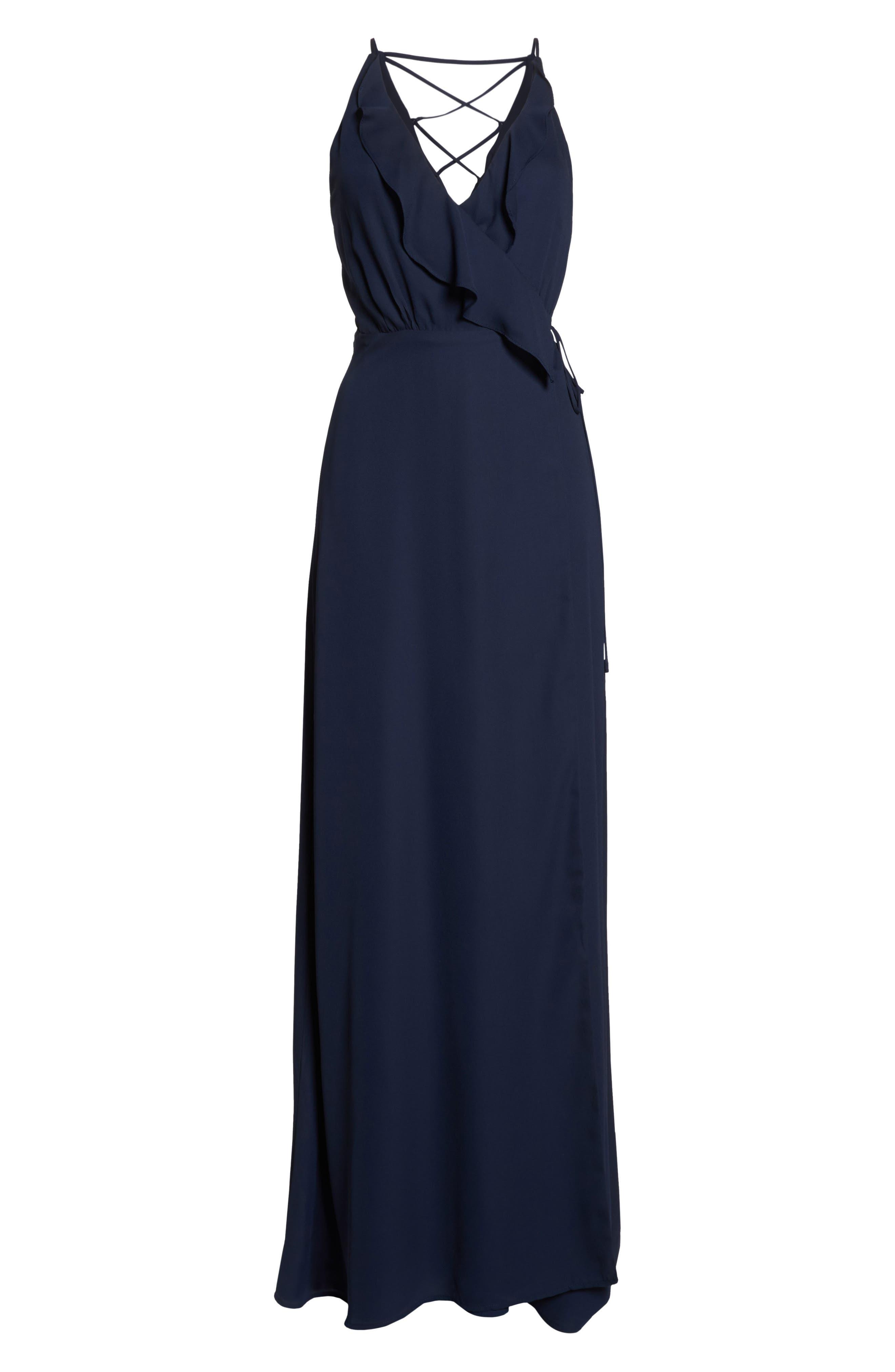Jamie Ruffle Wrap Gown,                             Alternate thumbnail 7, color,                             NAVY