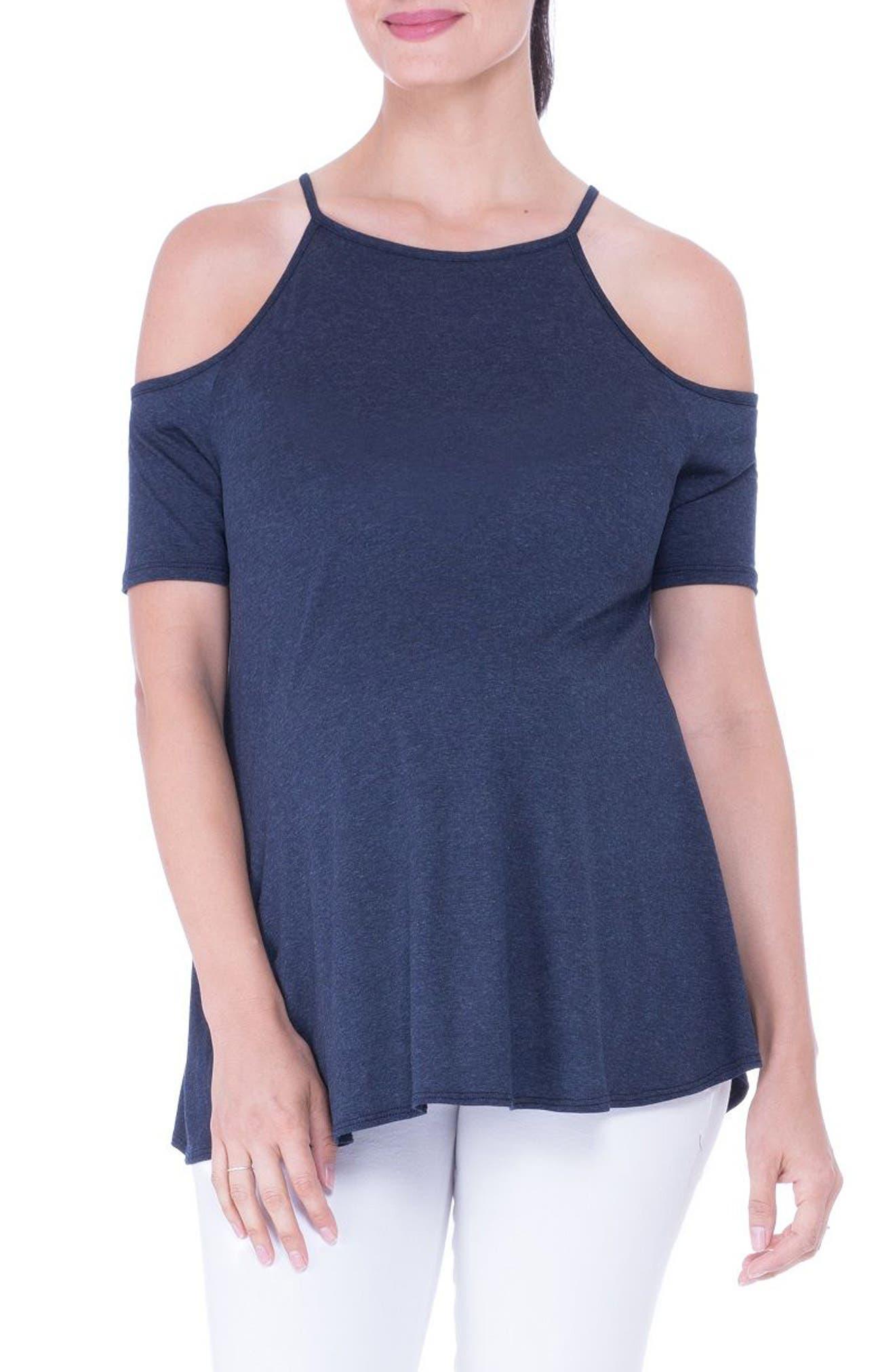 Open Shoulder Maternity Top,                         Main,                         color, HEATHER NAVY