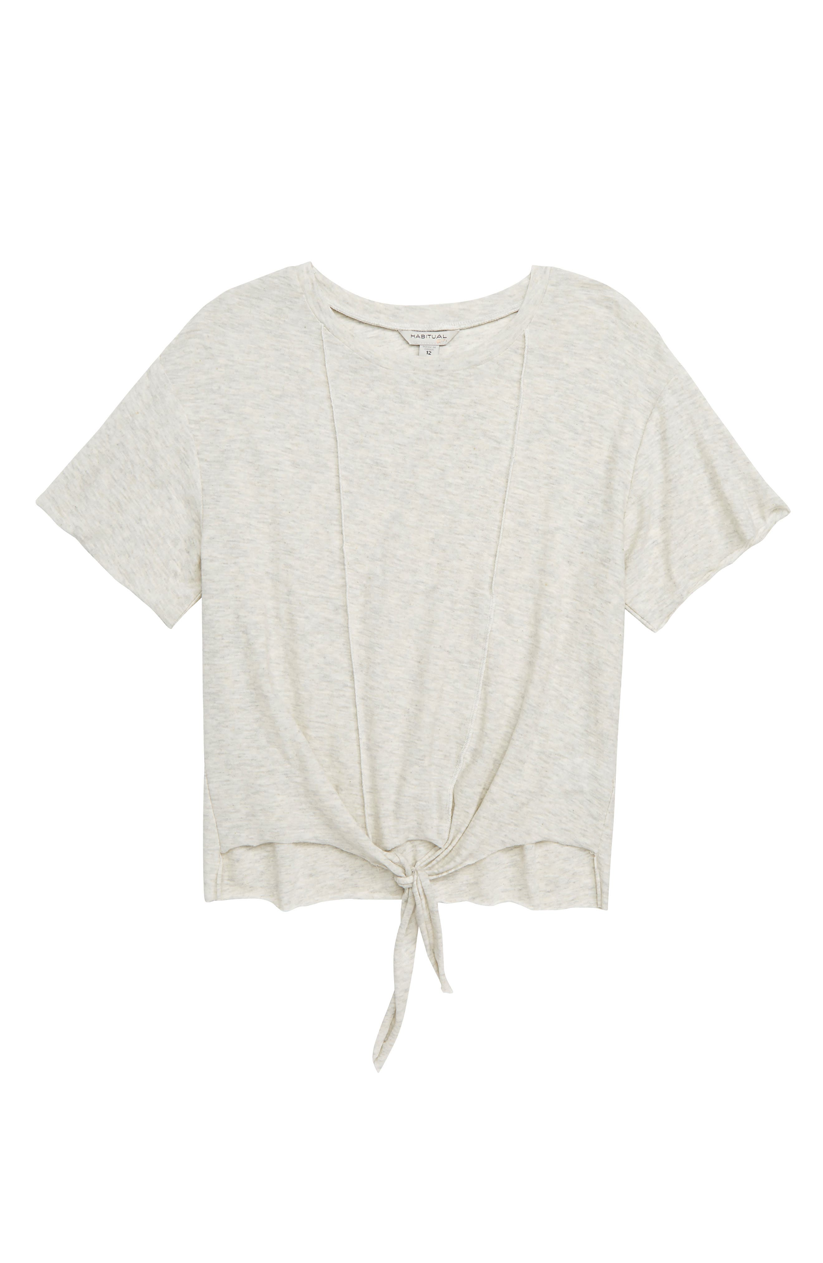 Nicole Tie-Front Tee,                         Main,                         color, OATMEAL