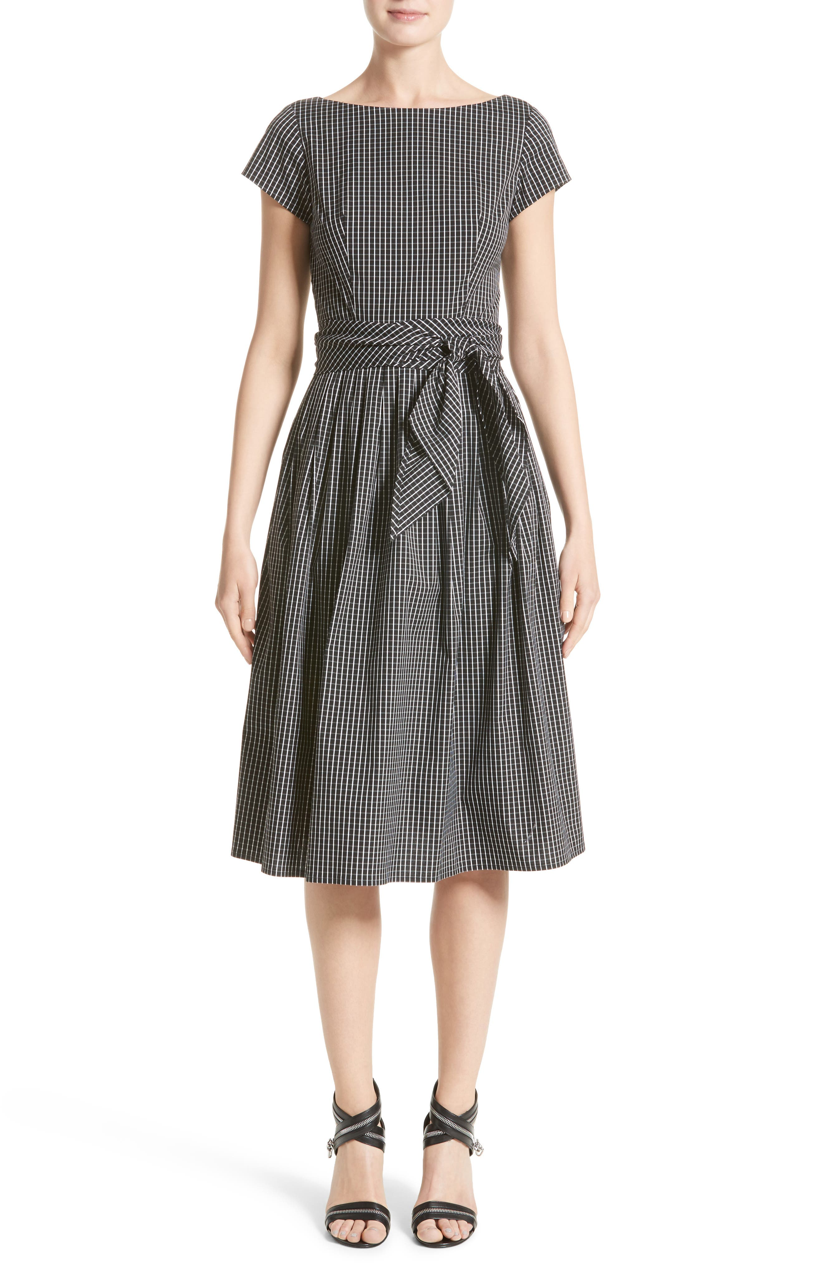 Windowpane Stretch Cotton Poplin Dress,                             Main thumbnail 1, color,                             003
