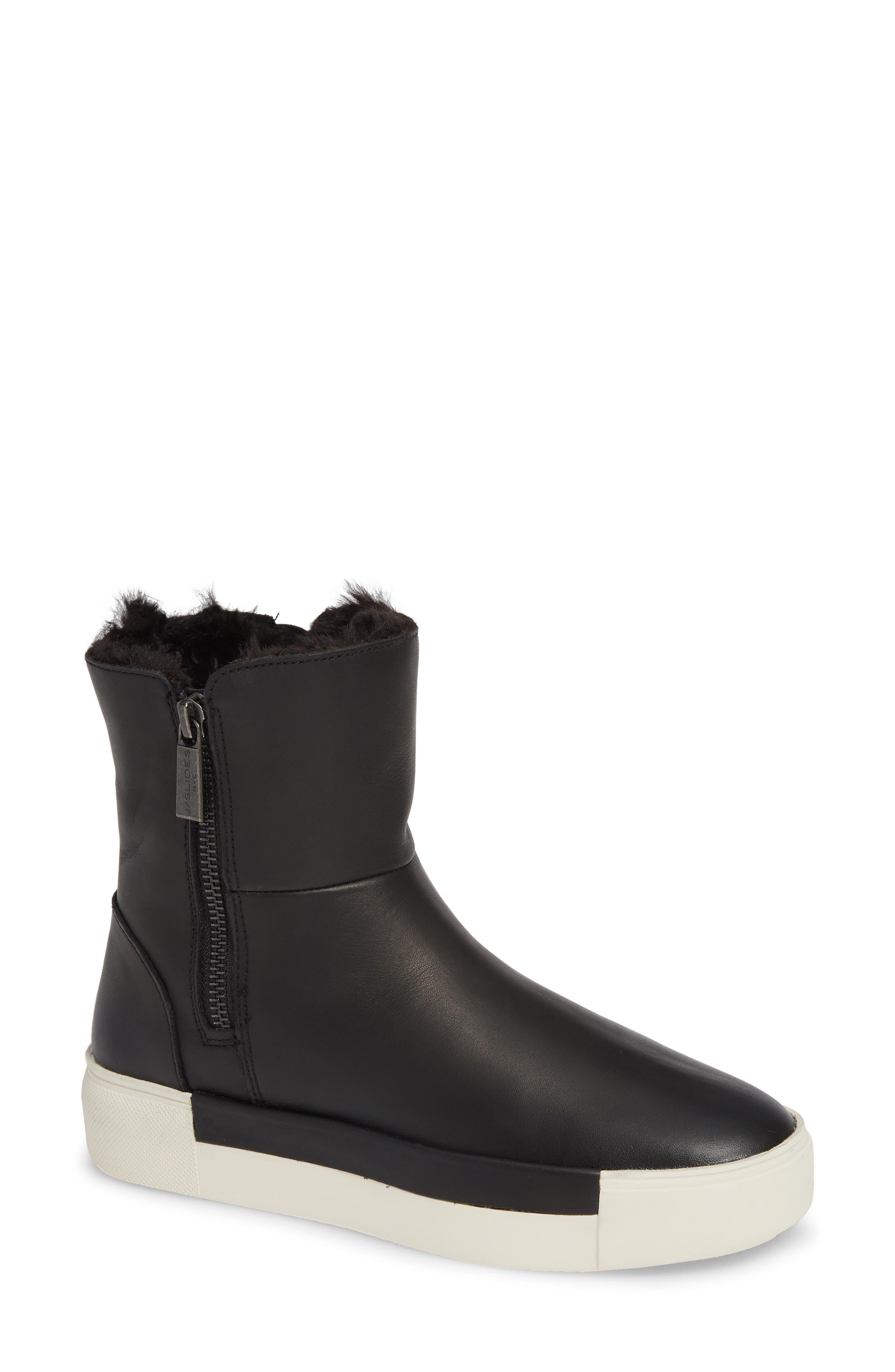 Victory Double Zip Boot,                             Main thumbnail 1, color,                             BLACK WATERPROOF LEATHER