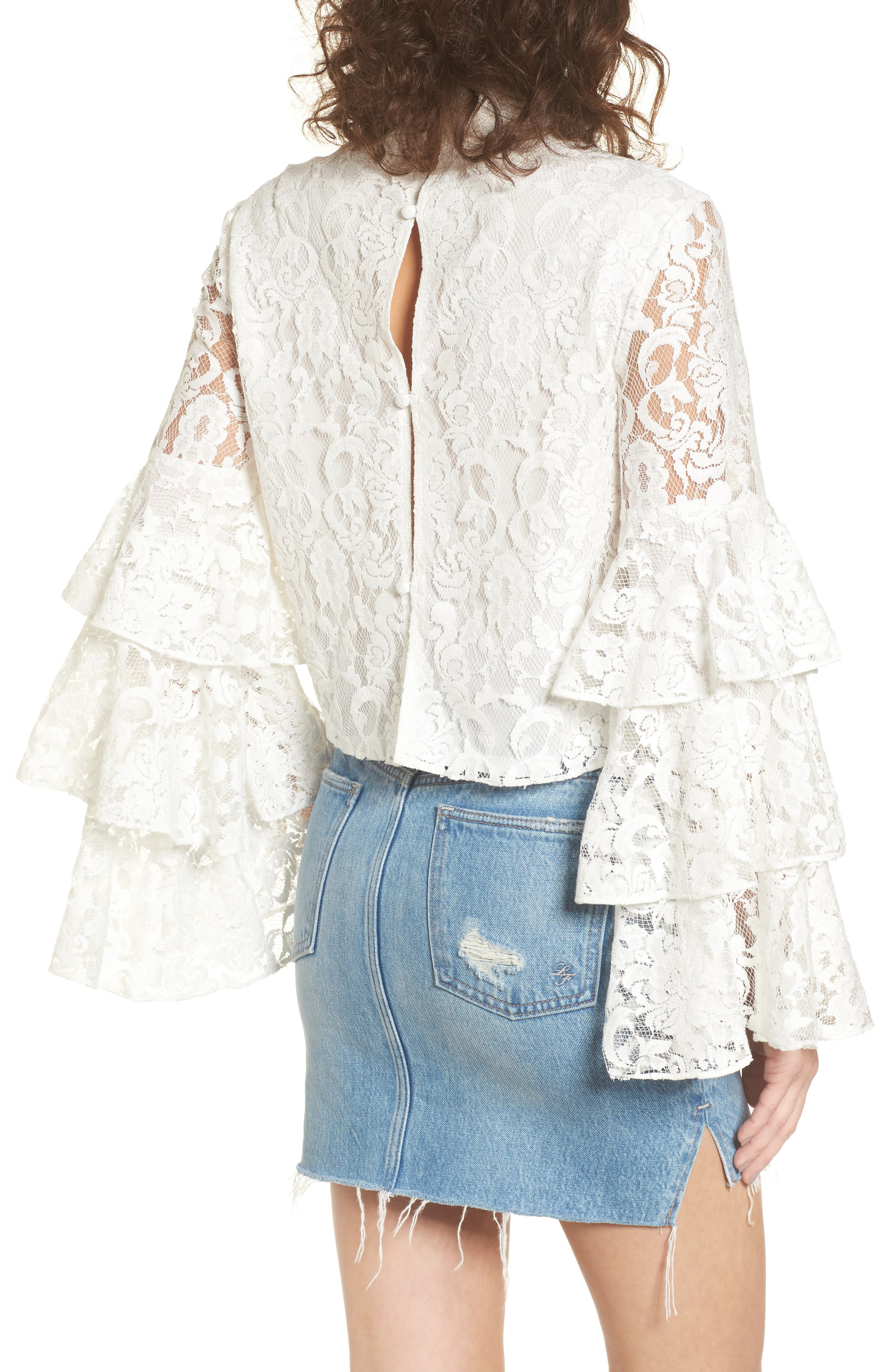 Ruffle Sleeve Lace Top,                             Alternate thumbnail 2, color,                             100