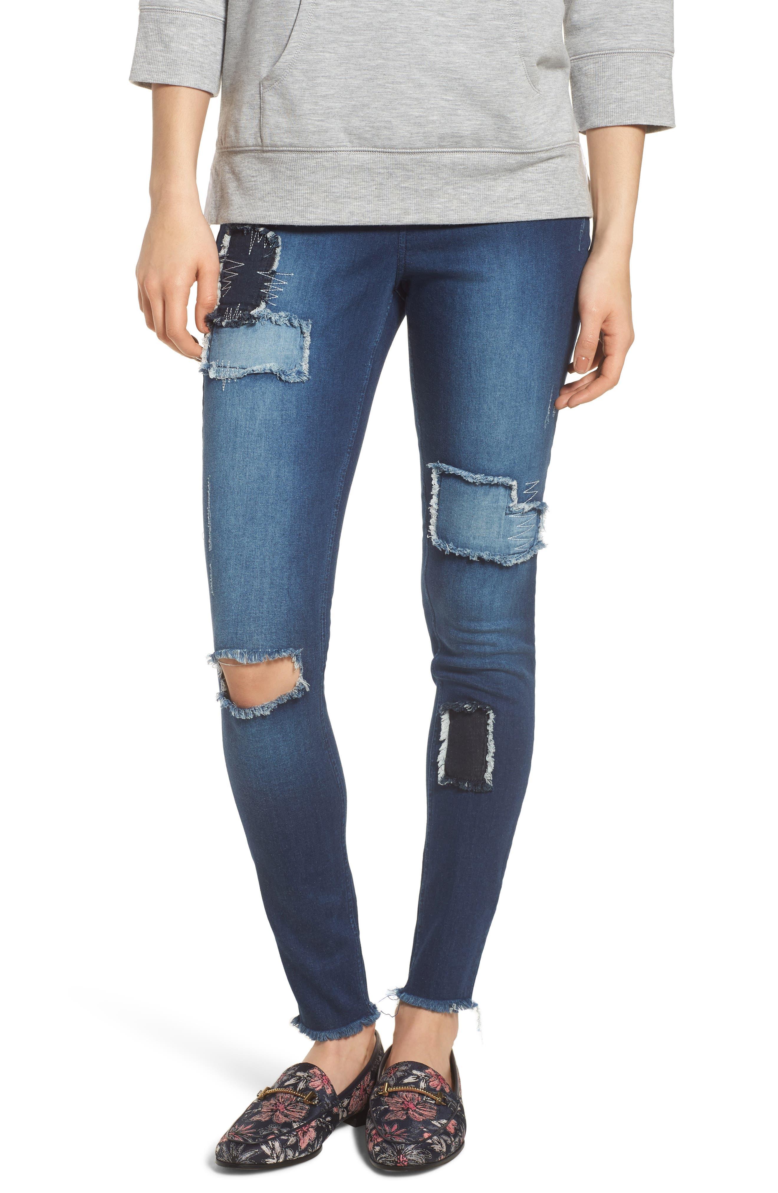 High Waist Distressed Denim Leggings,                         Main,                         color, 401