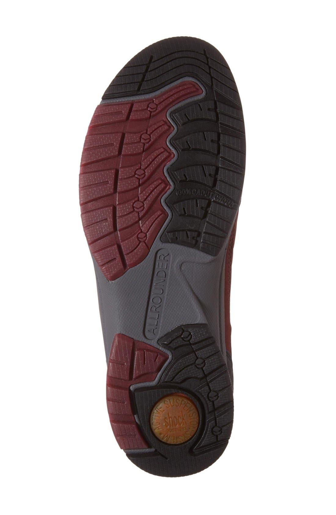 'Dascha Tex' Waterproof Sneaker,                             Alternate thumbnail 4, color,                             BLACK/ RED NUBUCK LEATHER