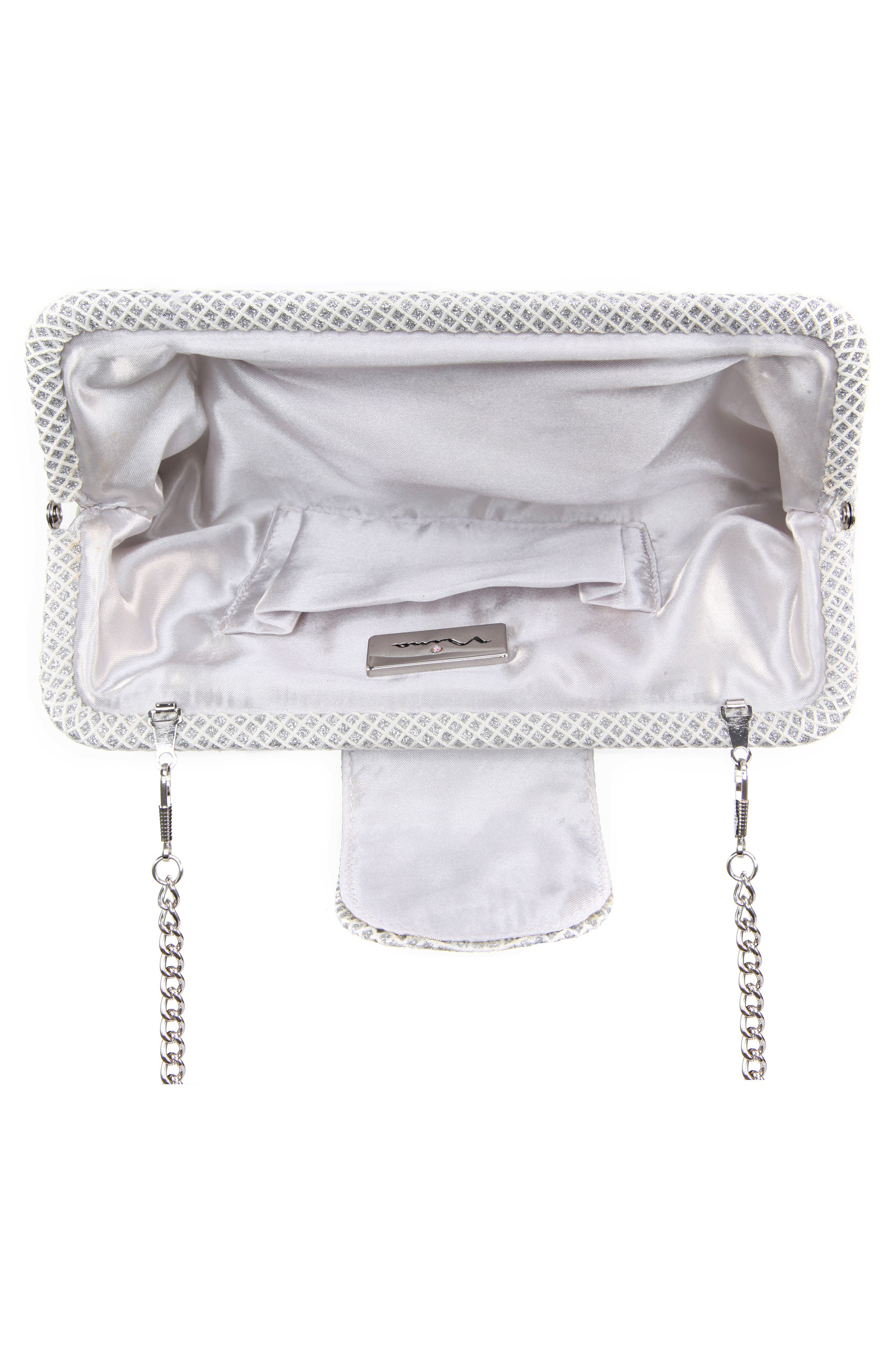 NINA,                             Hampton Embellished Frame Clutch,                             Alternate thumbnail 2, color,                             SILVER