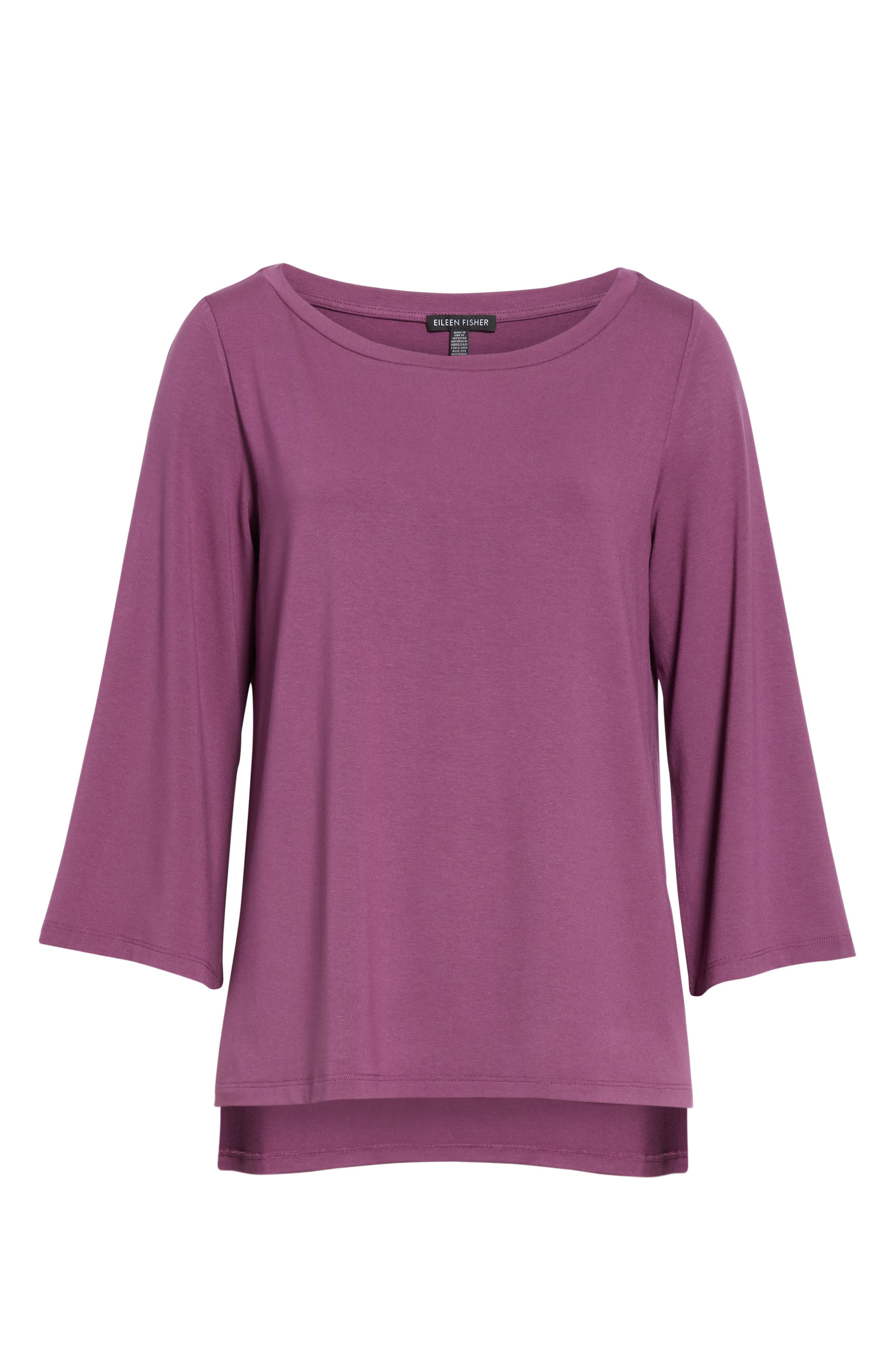 Flare Sleeve Top,                             Alternate thumbnail 6, color,                             CURRANT