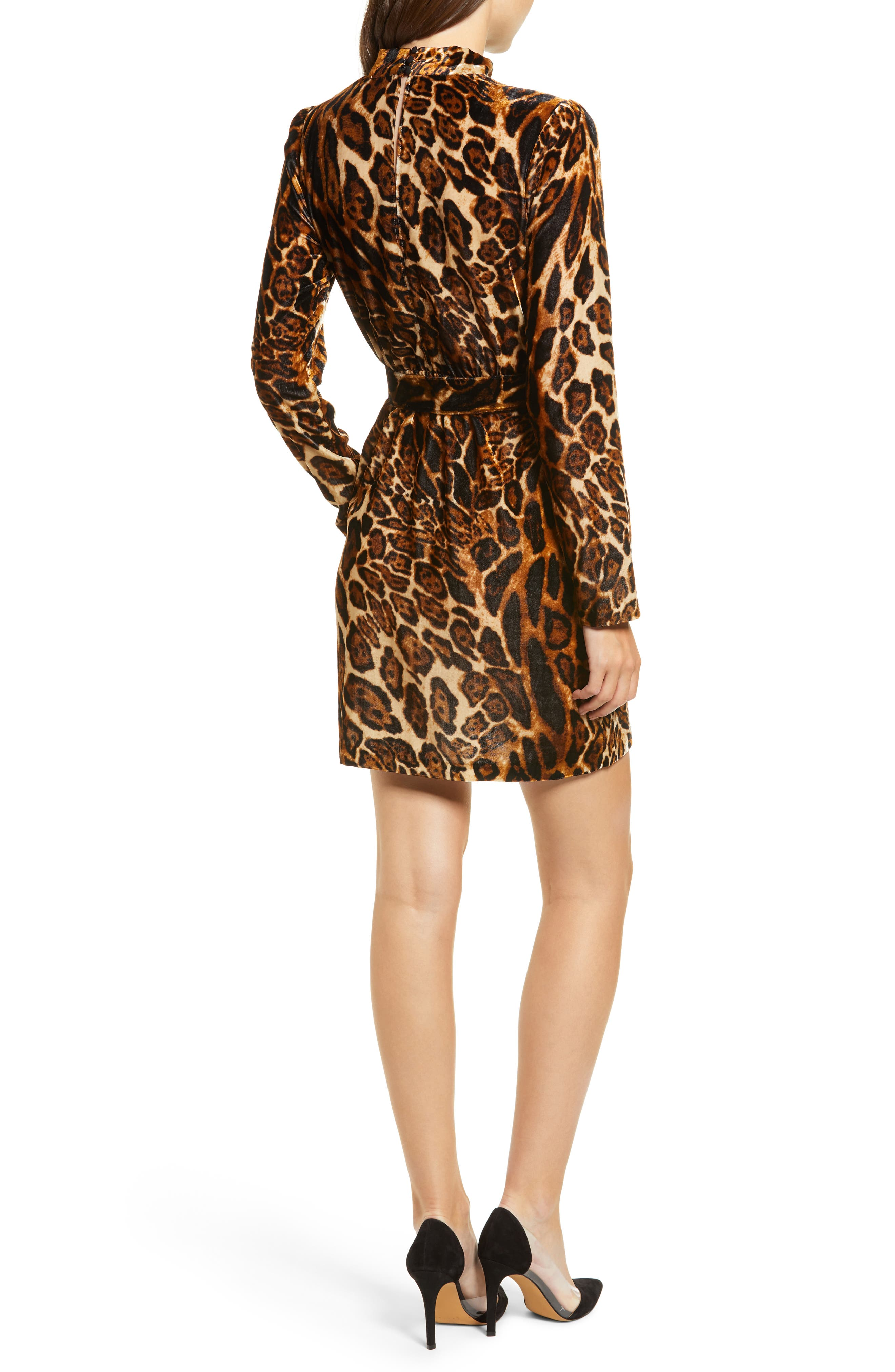 Peggy Mock Neck Velvet Dress,                             Alternate thumbnail 2, color,                             LEOPARD