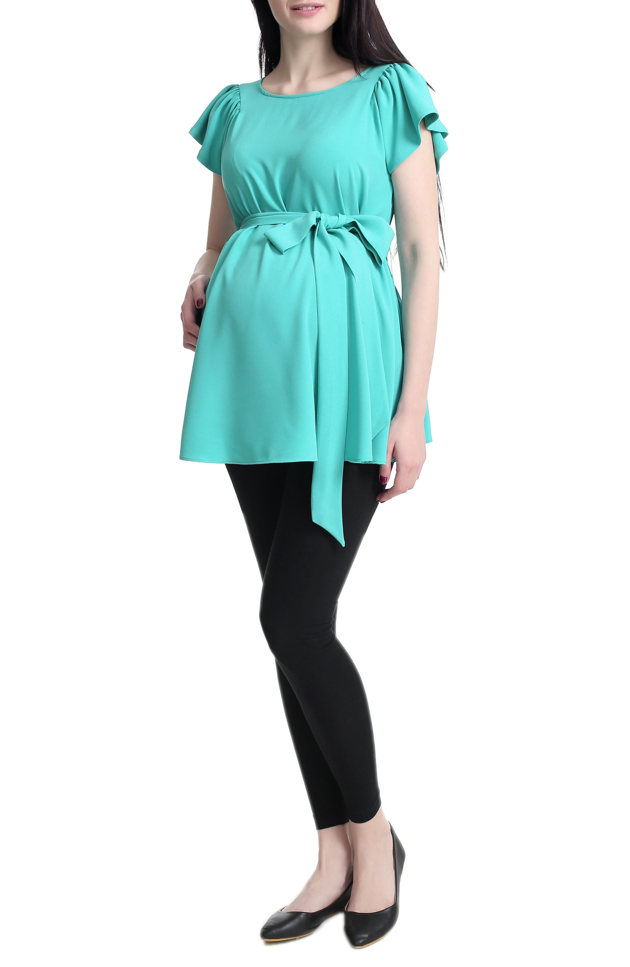 'Quinn' Flutter Sleeve Belted Maternity Top,                             Main thumbnail 2, color,
