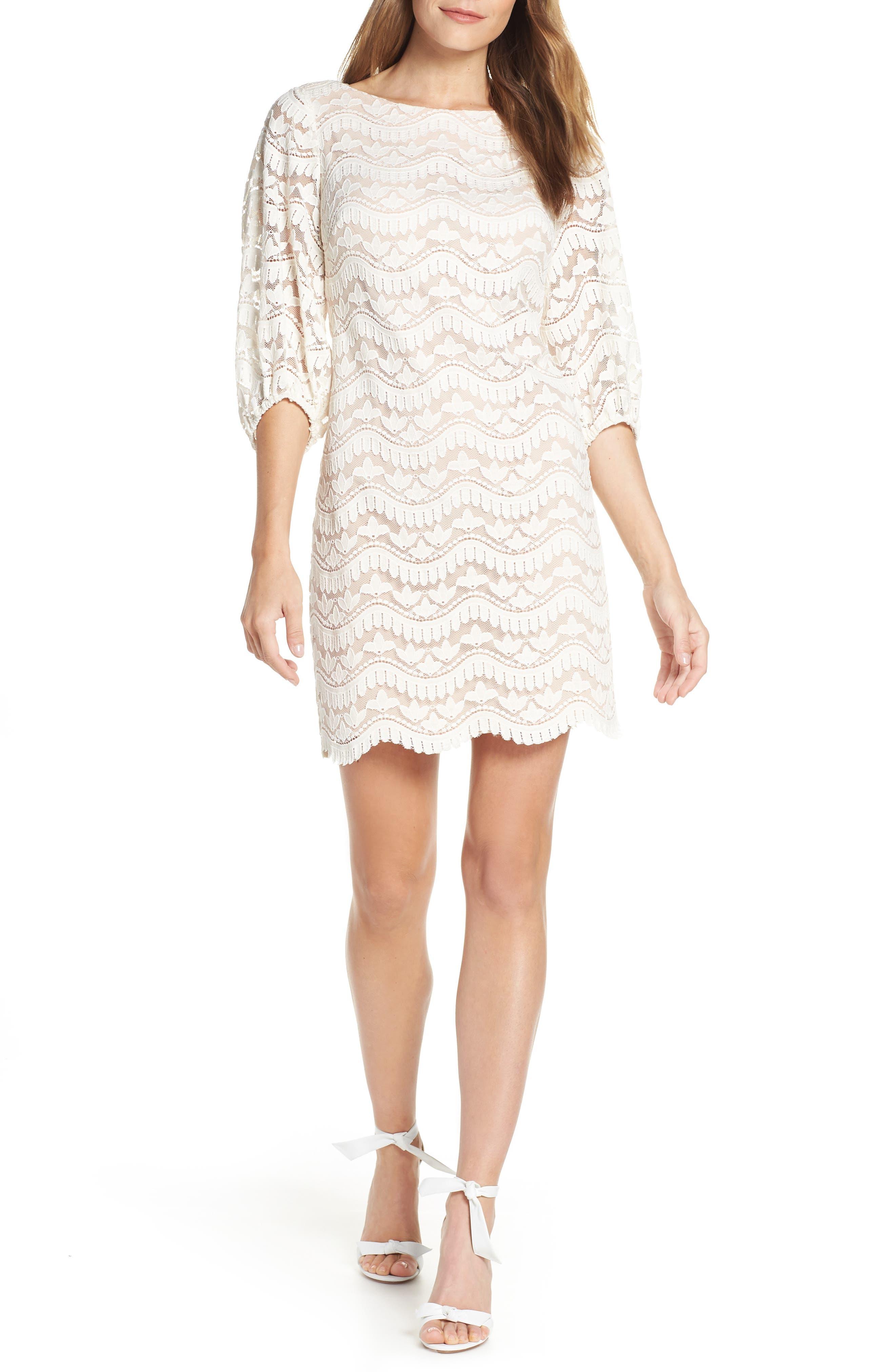 Eliza J Lace Shift Dress, Ivory