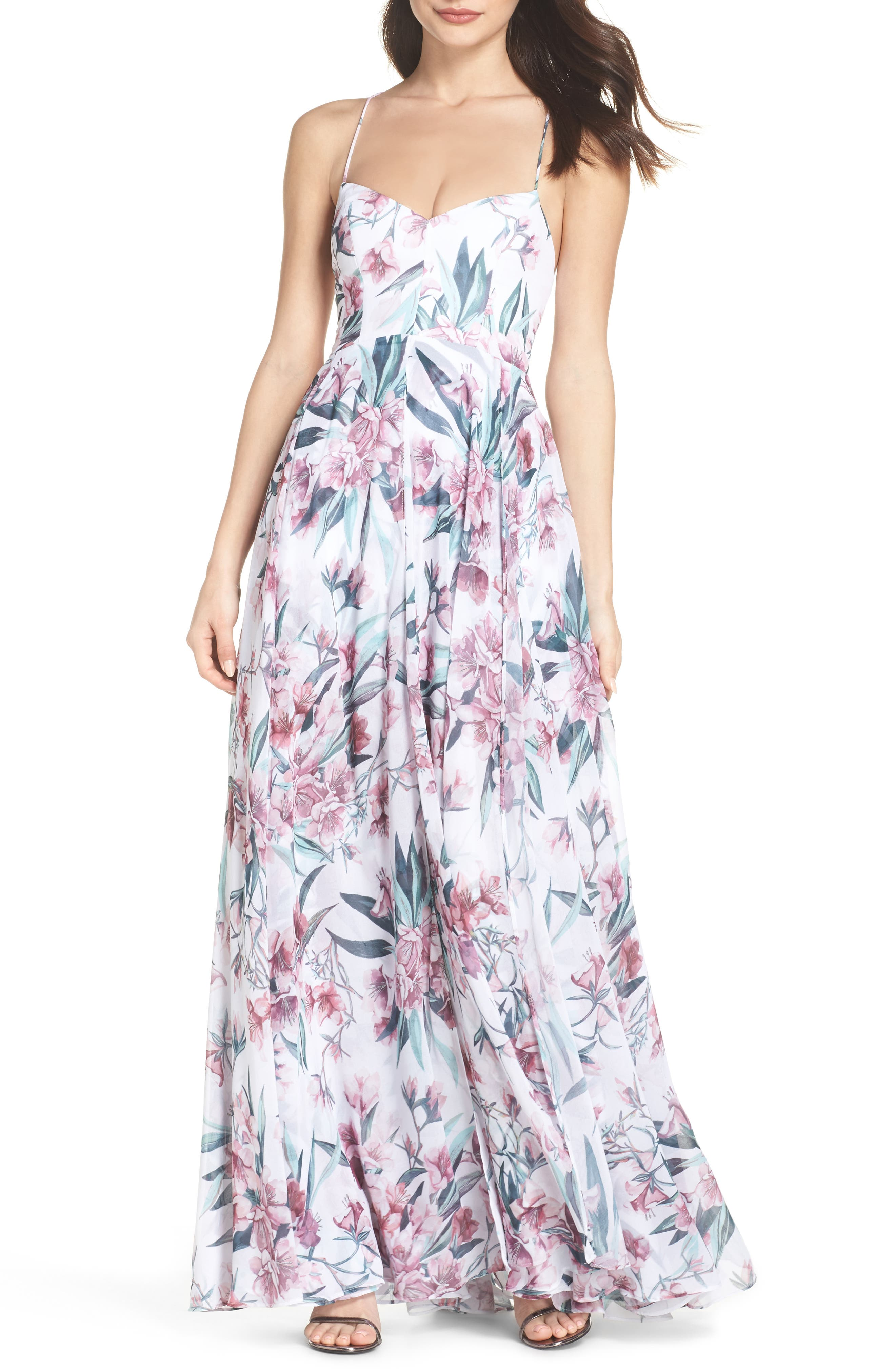 Khoo Floral Gown,                             Main thumbnail 1, color,                             100