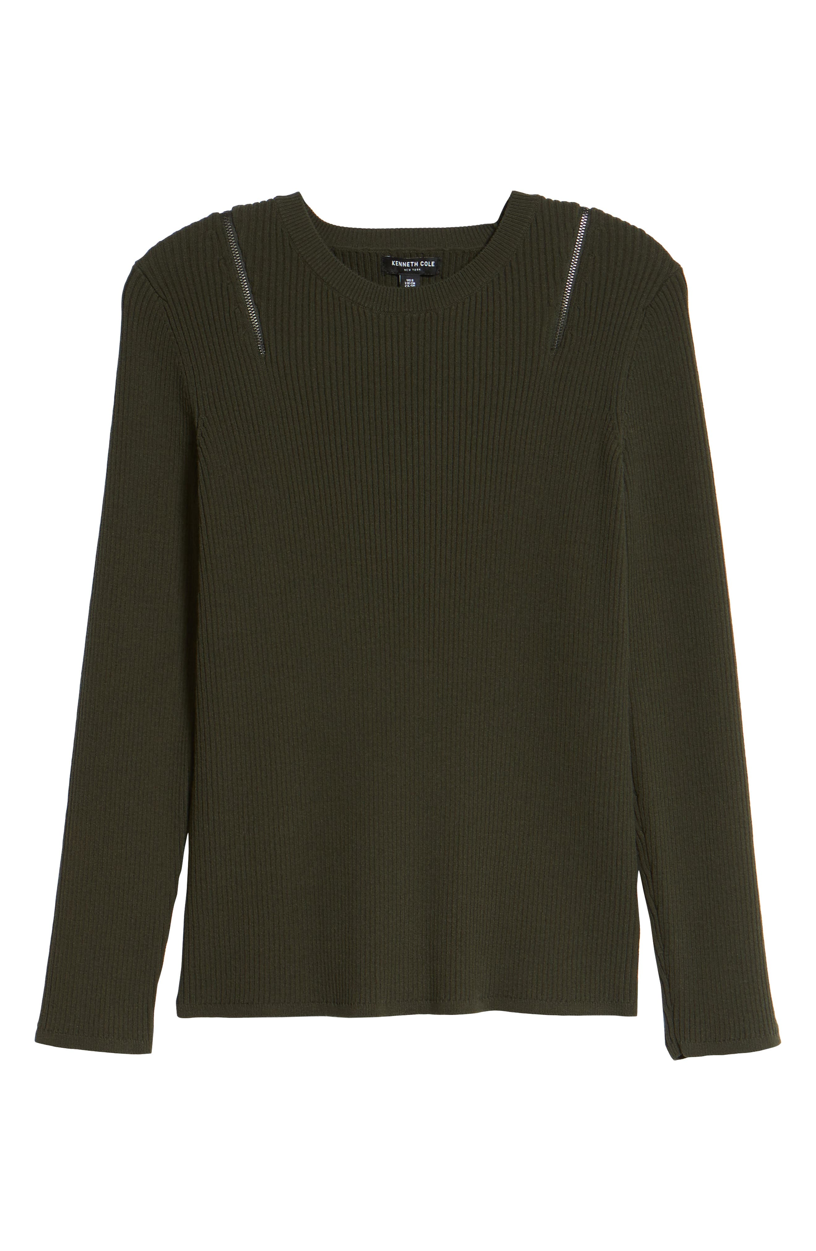 Zip Shoulder Ribbed Sweater,                             Alternate thumbnail 12, color,