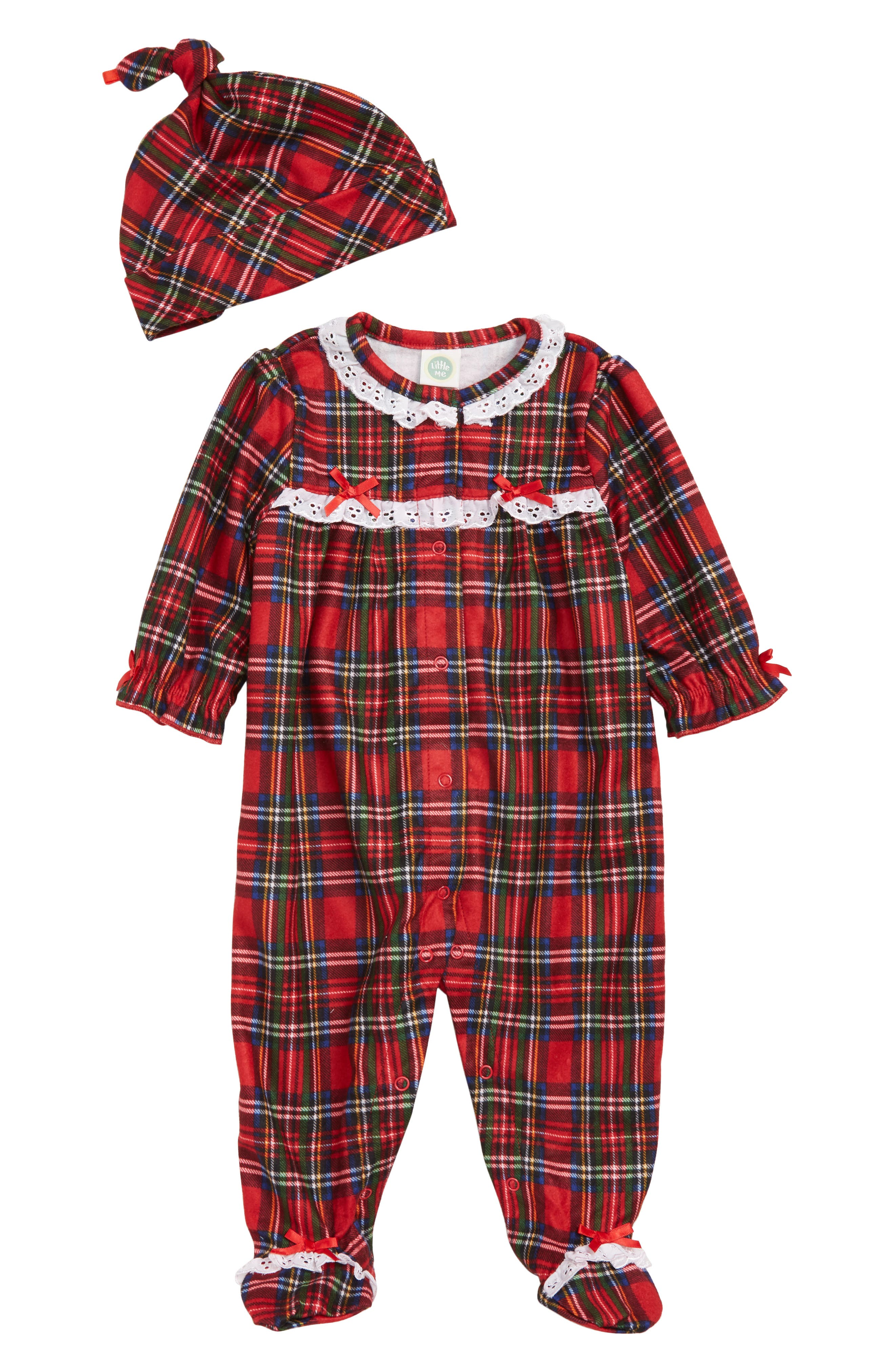 Plaid Footie & Hat Set,                             Main thumbnail 1, color,                             608