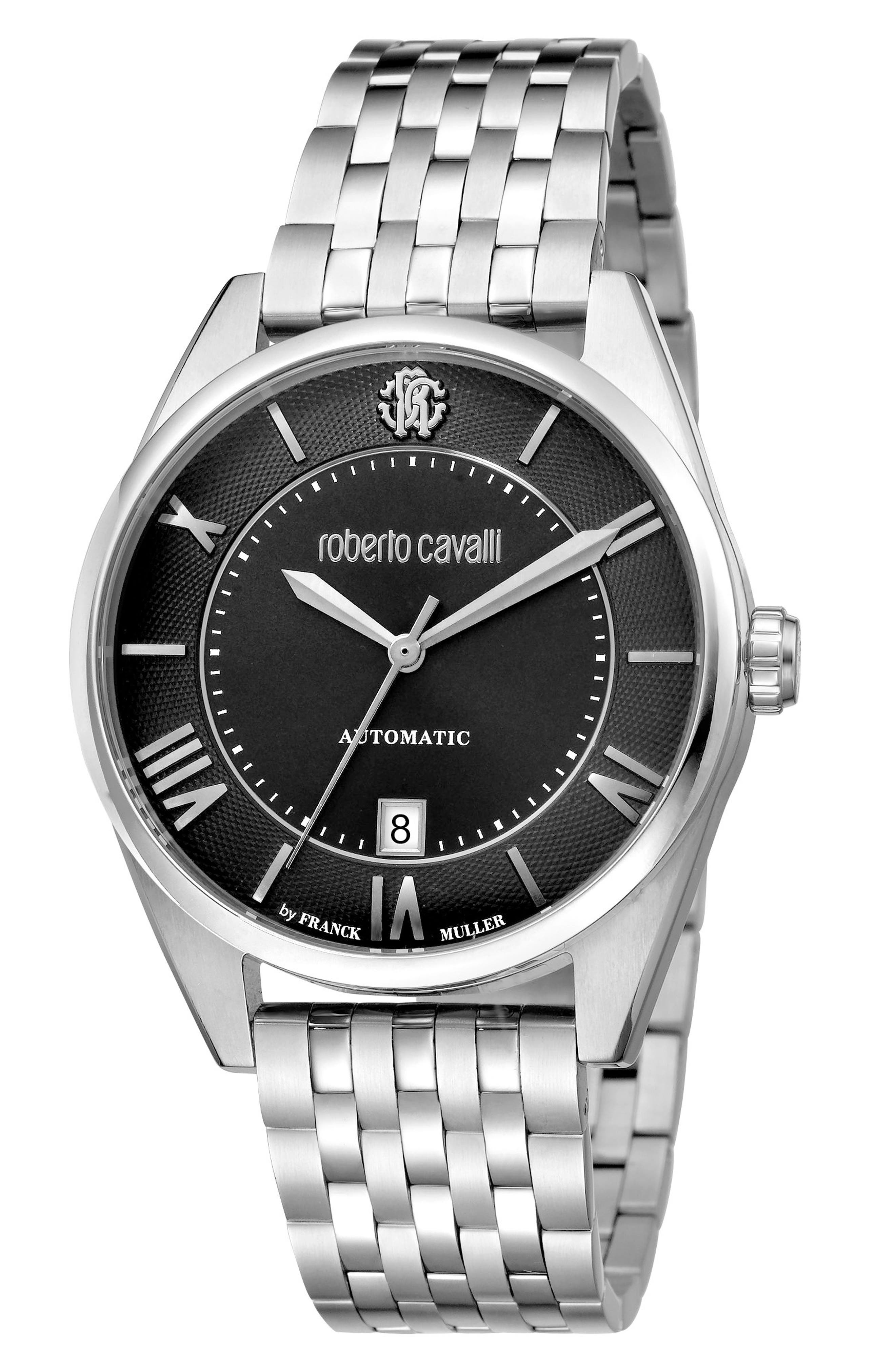 Automatic Bracelet Watch, 40mm,                         Main,                         color, SILVER/ BLACK GUILLOCHE